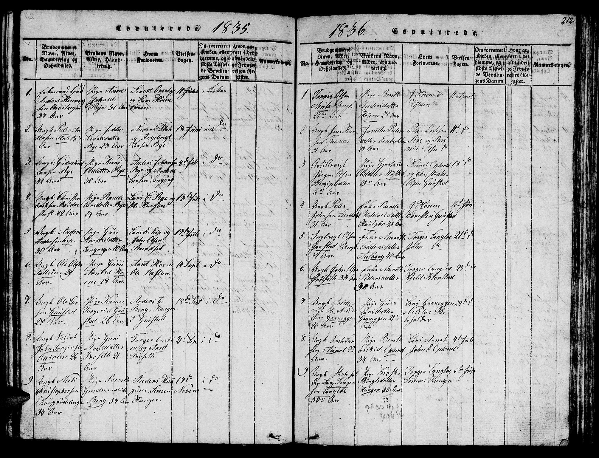 SAT, Ministerialprotokoller, klokkerbøker og fødselsregistre - Sør-Trøndelag, 612/L0385: Klokkerbok nr. 612C01, 1816-1845, s. 212