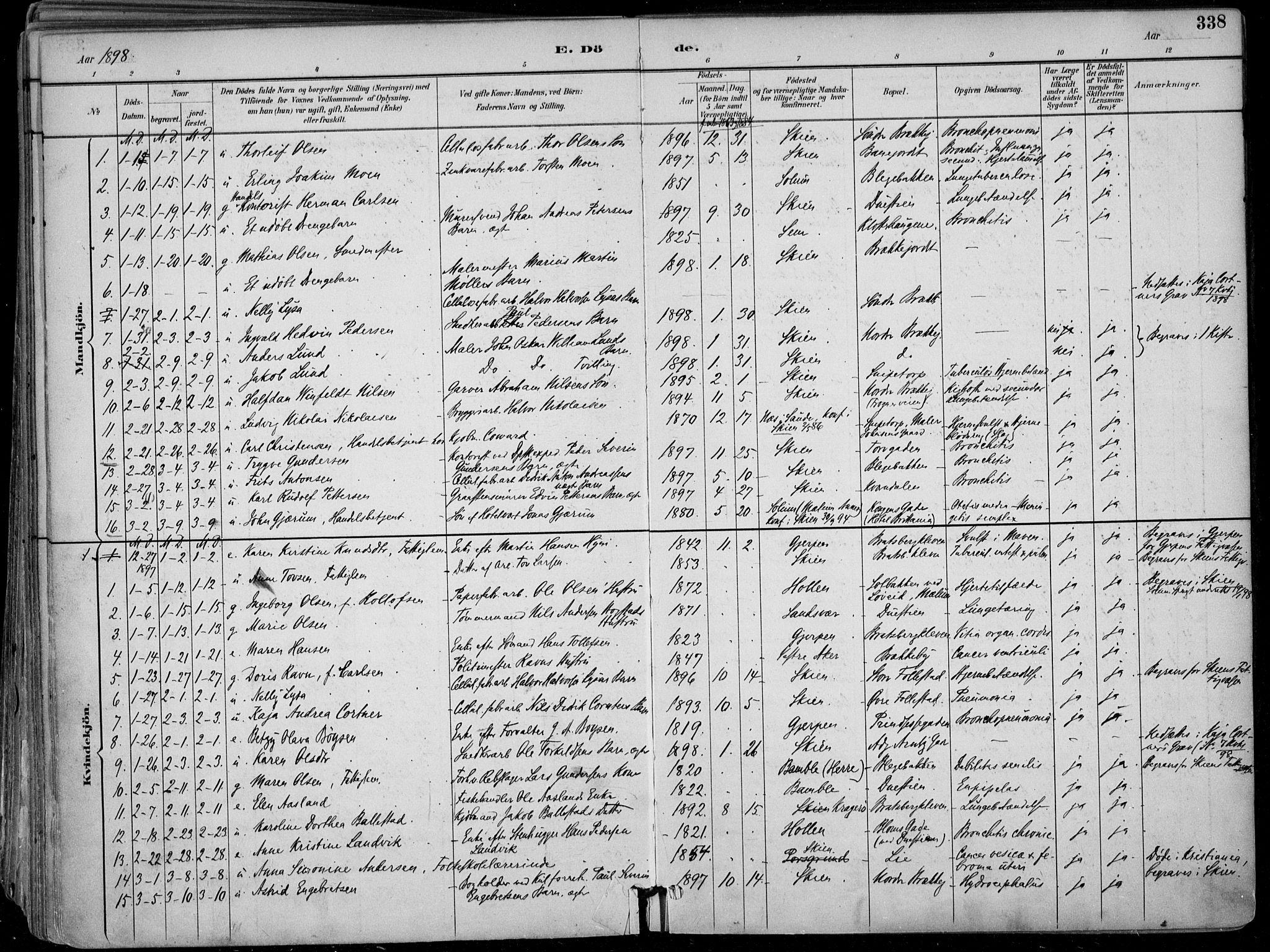 SAKO, Skien kirkebøker, F/Fa/L0010: Ministerialbok nr. 10, 1891-1899, s. 338