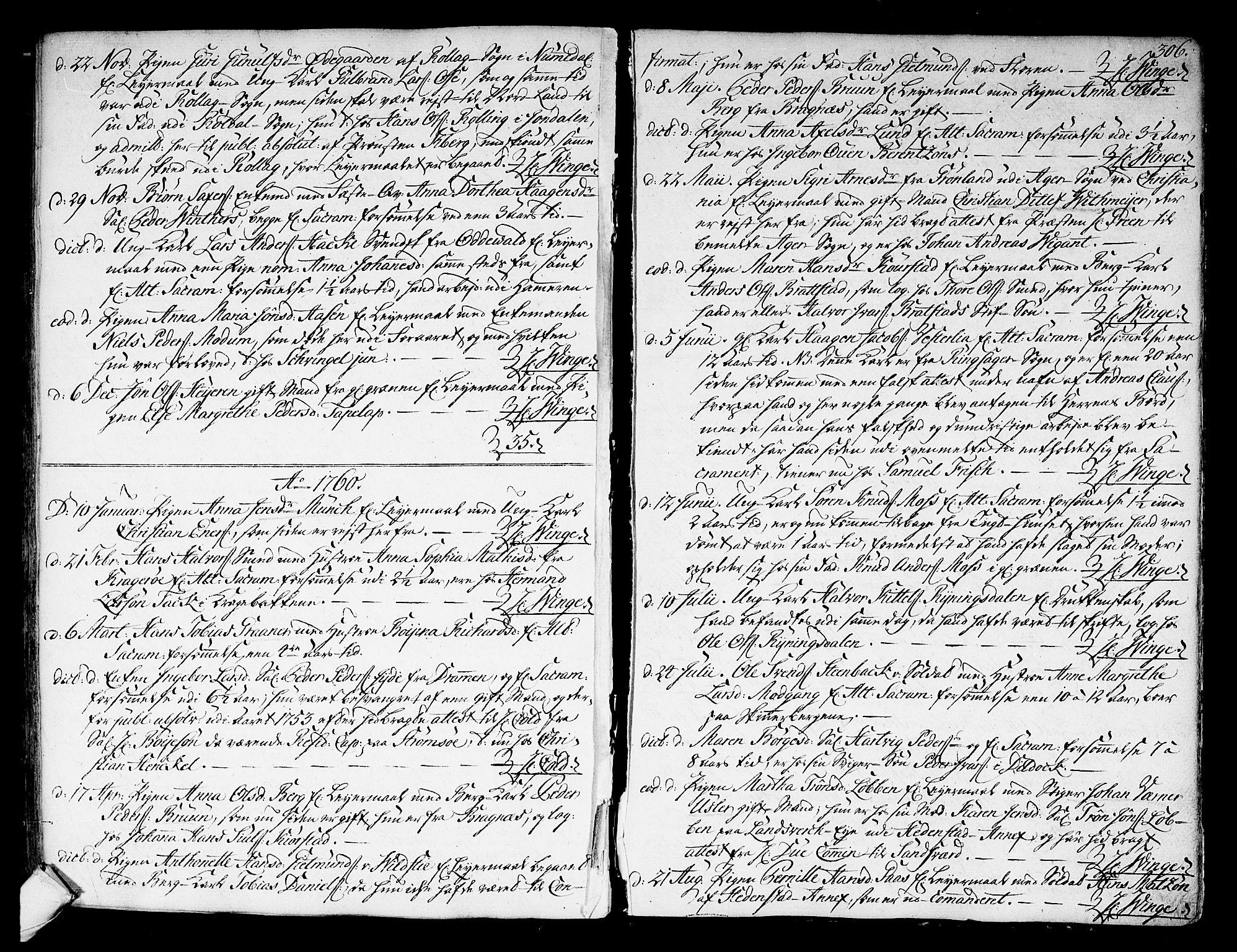 SAKO, Kongsberg kirkebøker, F/Fa/L0004: Ministerialbok nr. I 4, 1756-1768, s. 306