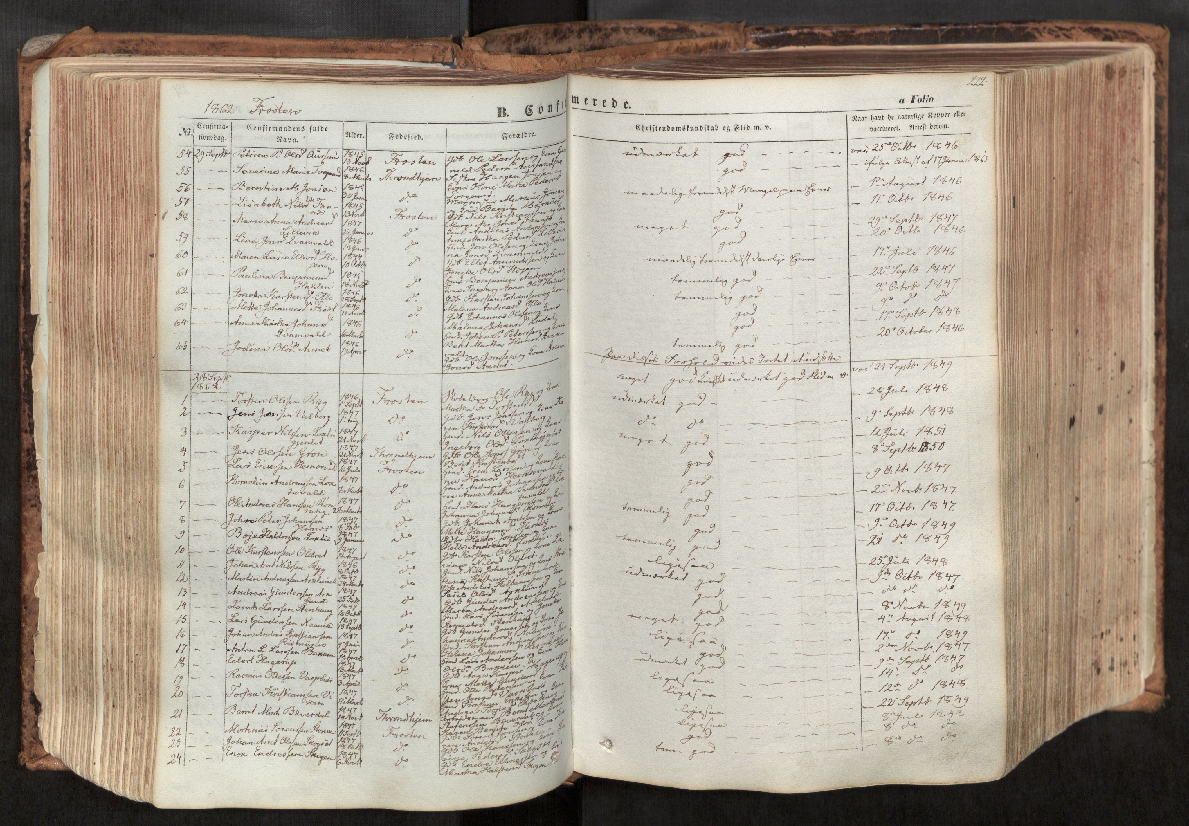 SAT, Ministerialprotokoller, klokkerbøker og fødselsregistre - Nord-Trøndelag, 713/L0116: Ministerialbok nr. 713A07, 1850-1877, s. 222