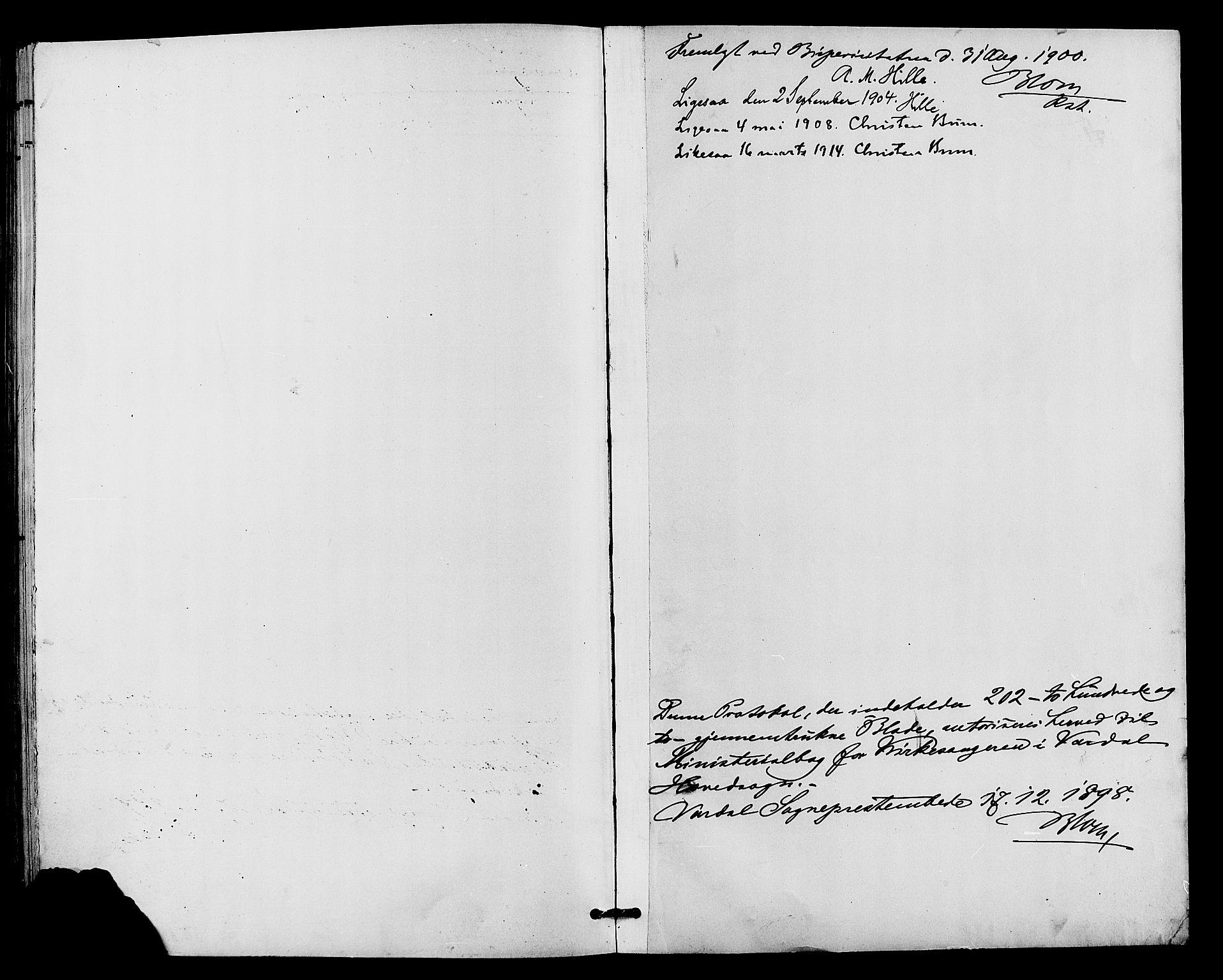 SAH, Vardal prestekontor, H/Ha/Hab/L0011: Klokkerbok nr. 11, 1899-1913