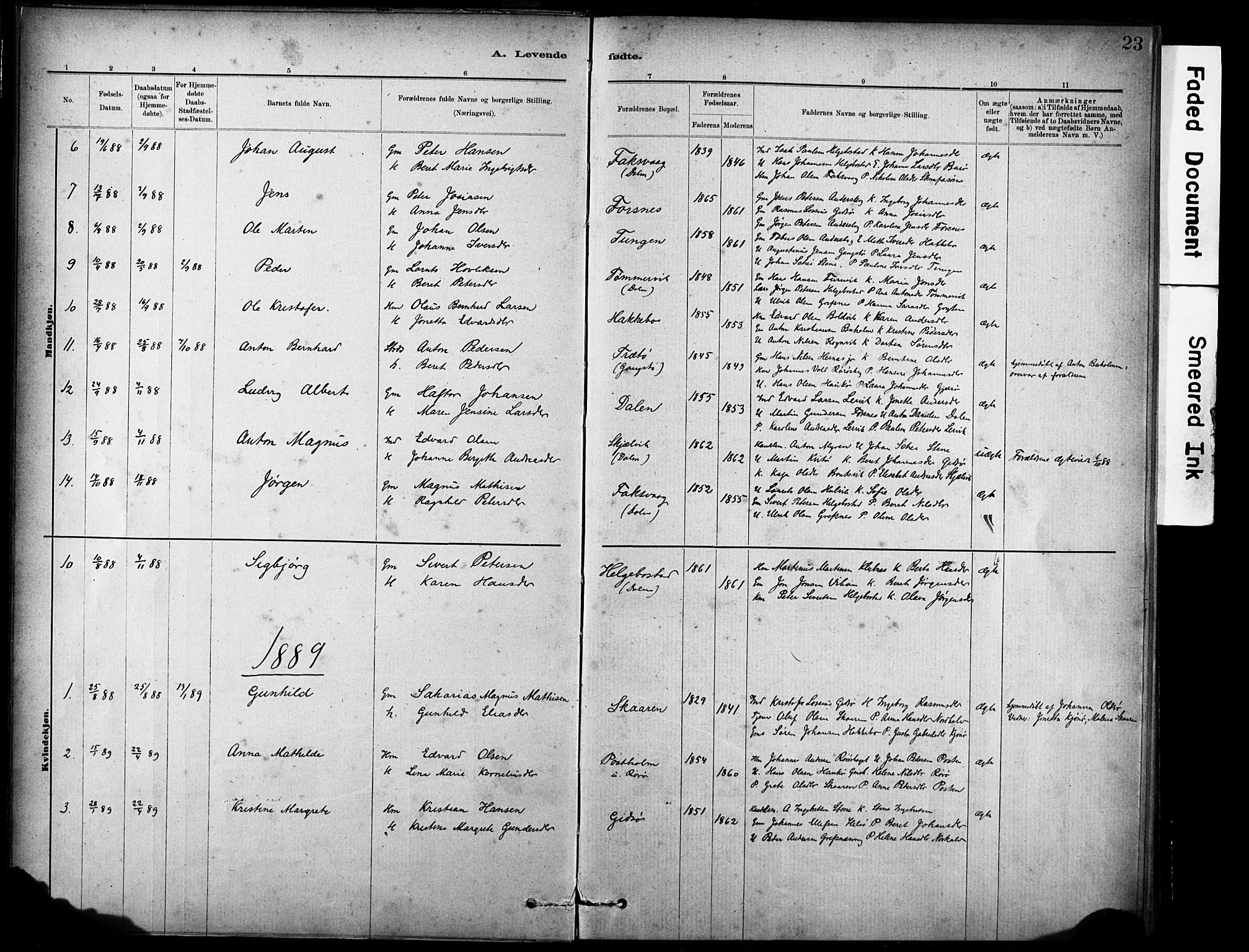 SAT, Ministerialprotokoller, klokkerbøker og fødselsregistre - Sør-Trøndelag, 635/L0551: Ministerialbok nr. 635A01, 1882-1899, s. 23