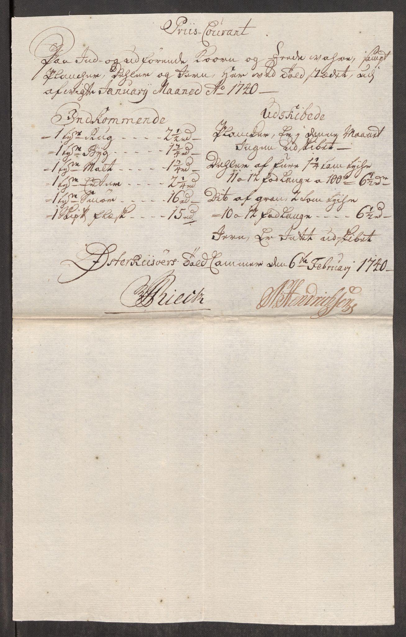 RA, Rentekammeret inntil 1814, Realistisk ordnet avdeling, Oe/L0002: [Ø1]: Priskuranter, 1740-1744, s. 129
