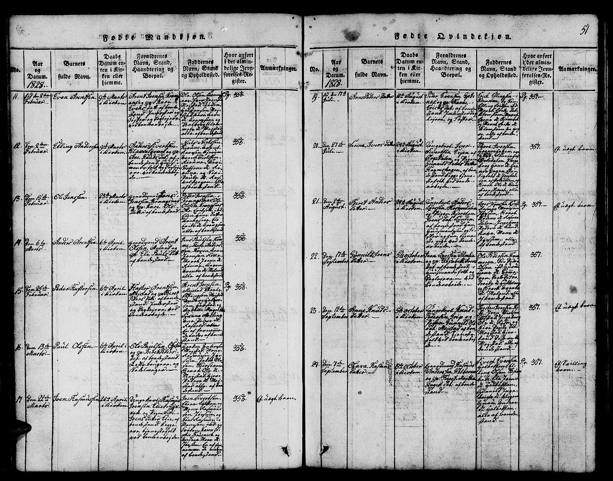 SAT, Ministerialprotokoller, klokkerbøker og fødselsregistre - Sør-Trøndelag, 665/L0776: Klokkerbok nr. 665C01, 1817-1837, s. 51