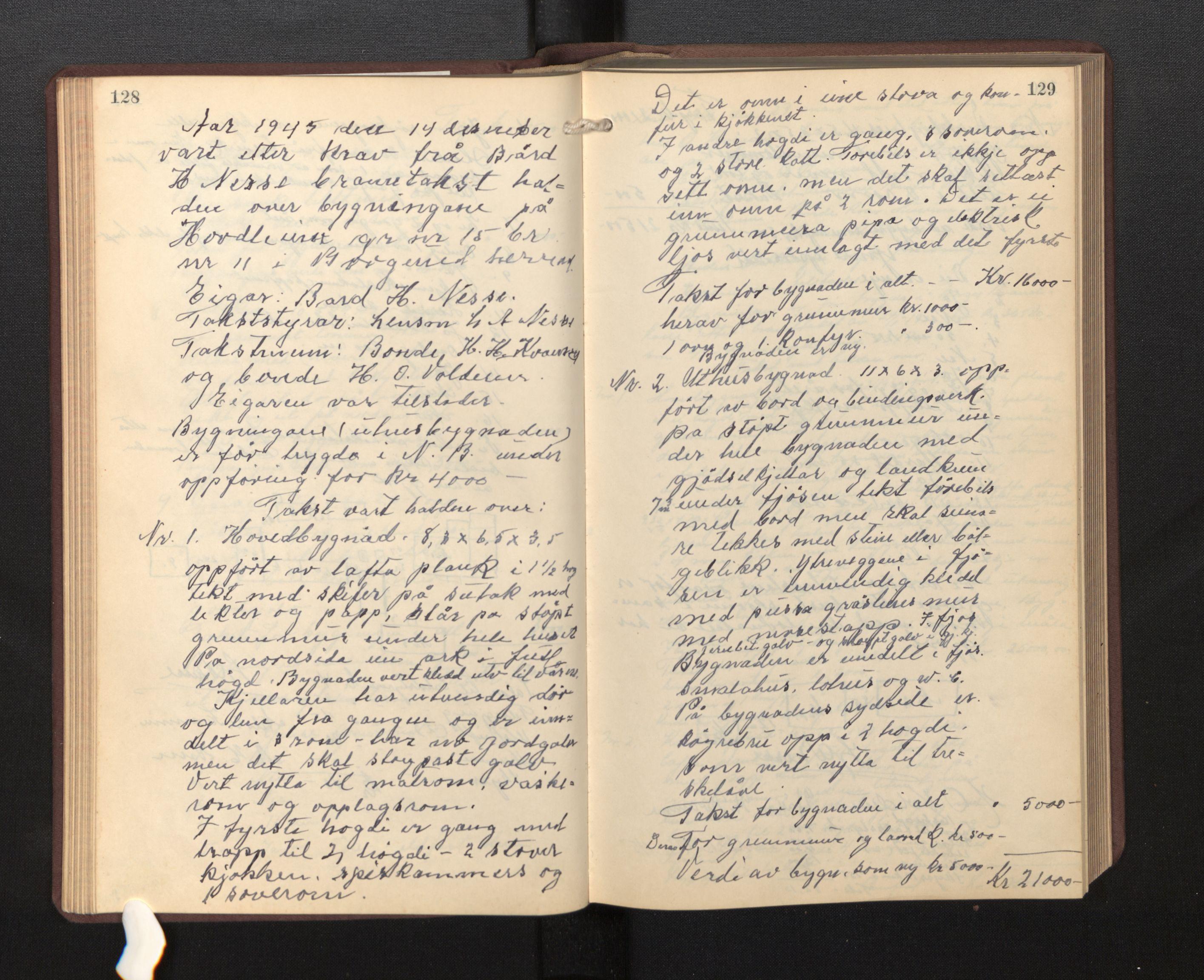 SAB, Lensmannen i Borgund, 0012/L0002: Branntakstprotokoll, 1929-1933, s. 128-129
