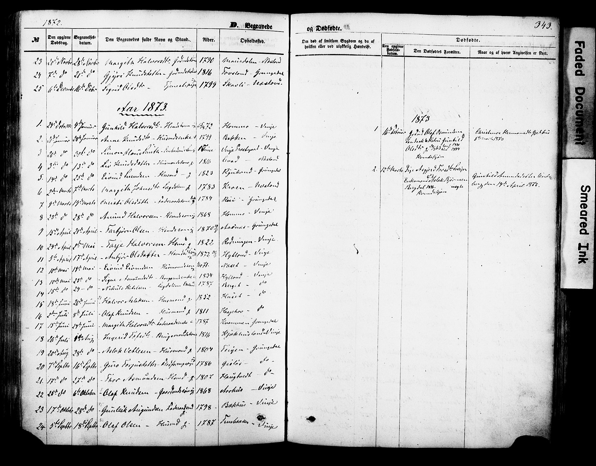 SAKO, Vinje kirkebøker, F/Fa/L0005: Ministerialbok nr. I 5, 1870-1886, s. 343