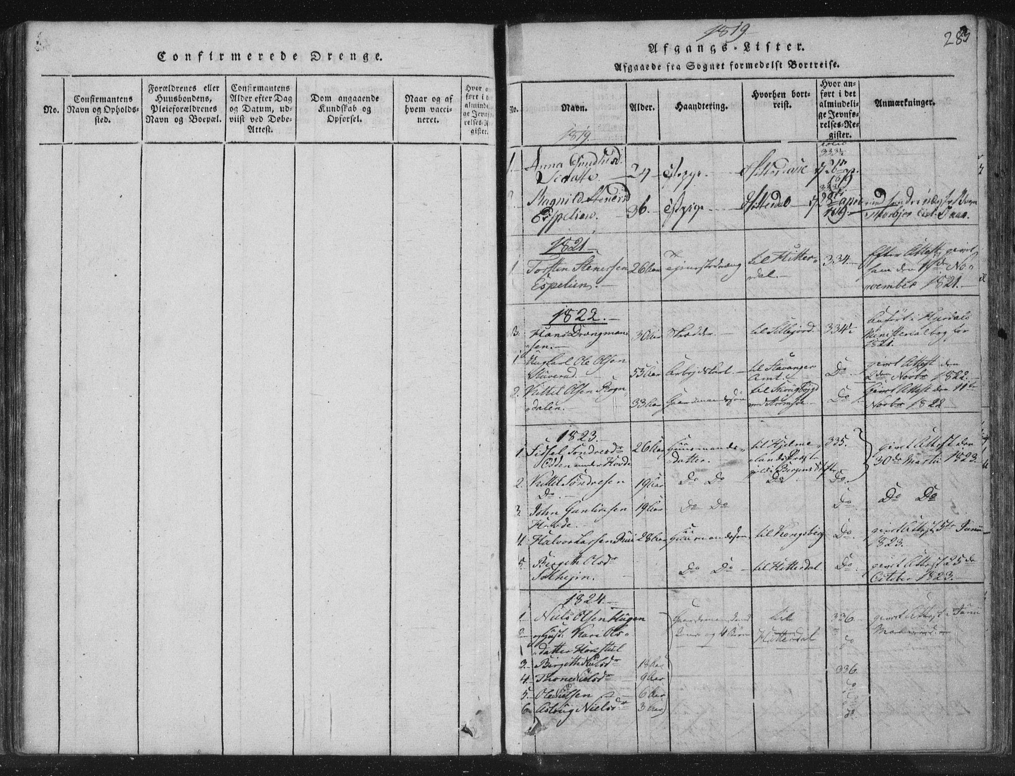 SAKO, Hjartdal kirkebøker, F/Fc/L0001: Ministerialbok nr. III 1, 1815-1843, s. 283