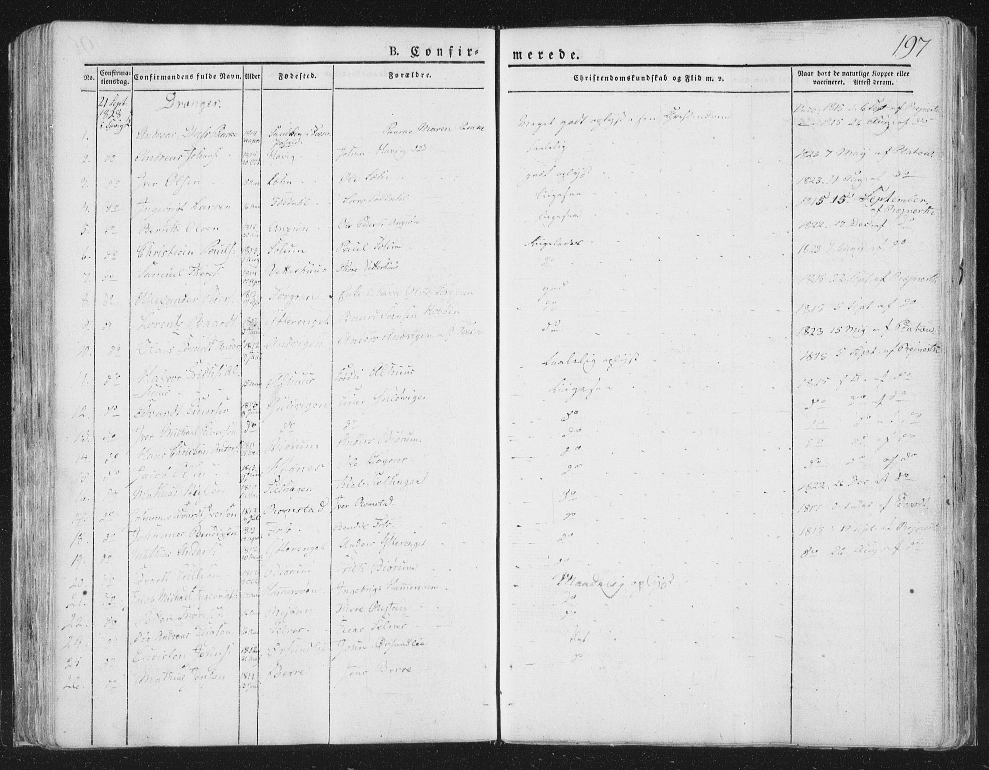 SAT, Ministerialprotokoller, klokkerbøker og fødselsregistre - Nord-Trøndelag, 764/L0551: Ministerialbok nr. 764A07a, 1824-1864, s. 197