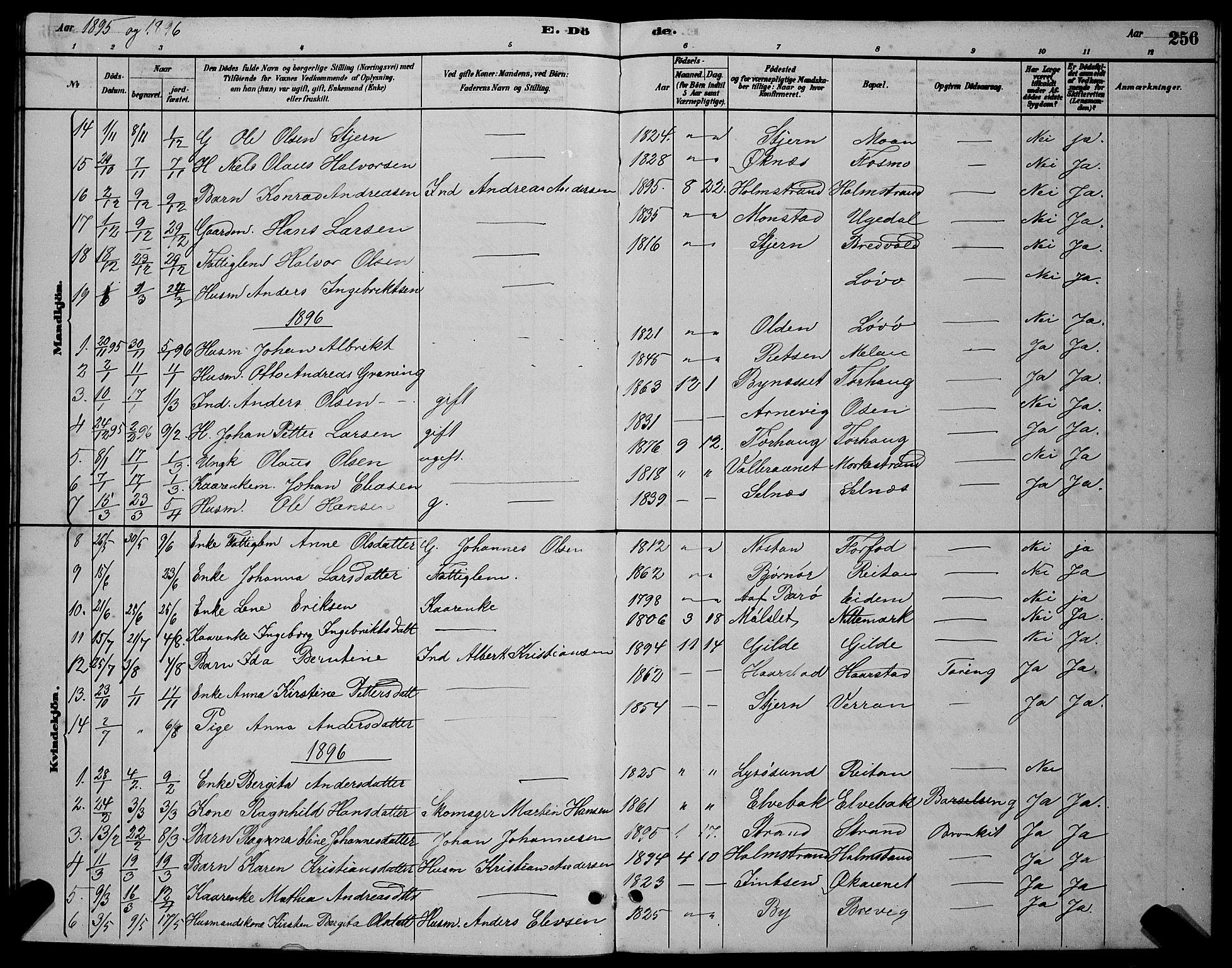 SAT, Ministerialprotokoller, klokkerbøker og fødselsregistre - Sør-Trøndelag, 655/L0687: Klokkerbok nr. 655C03, 1880-1898, s. 256