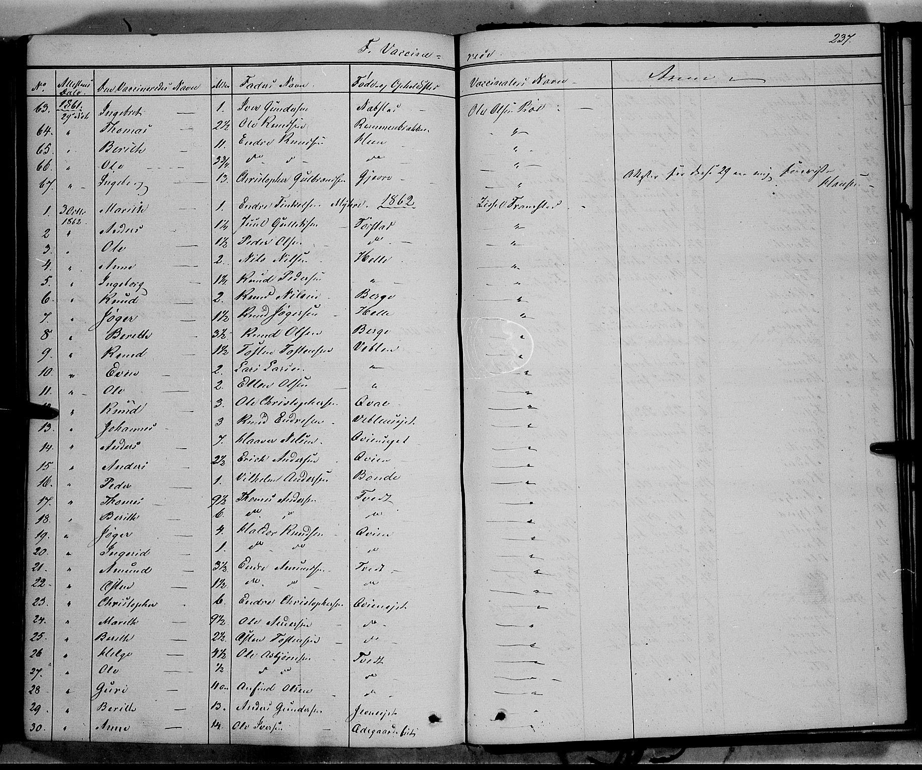 SAH, Vang prestekontor, Valdres, Ministerialbok nr. 6, 1846-1864, s. 237