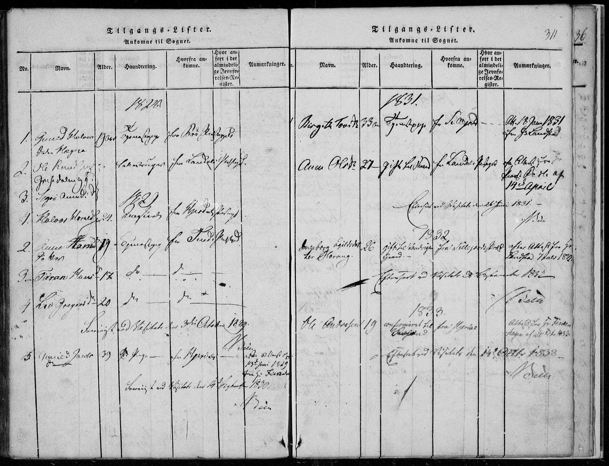 SAKO, Rauland kirkebøker, F/Fa/L0001: Ministerialbok nr. 1, 1814-1859, s. 311