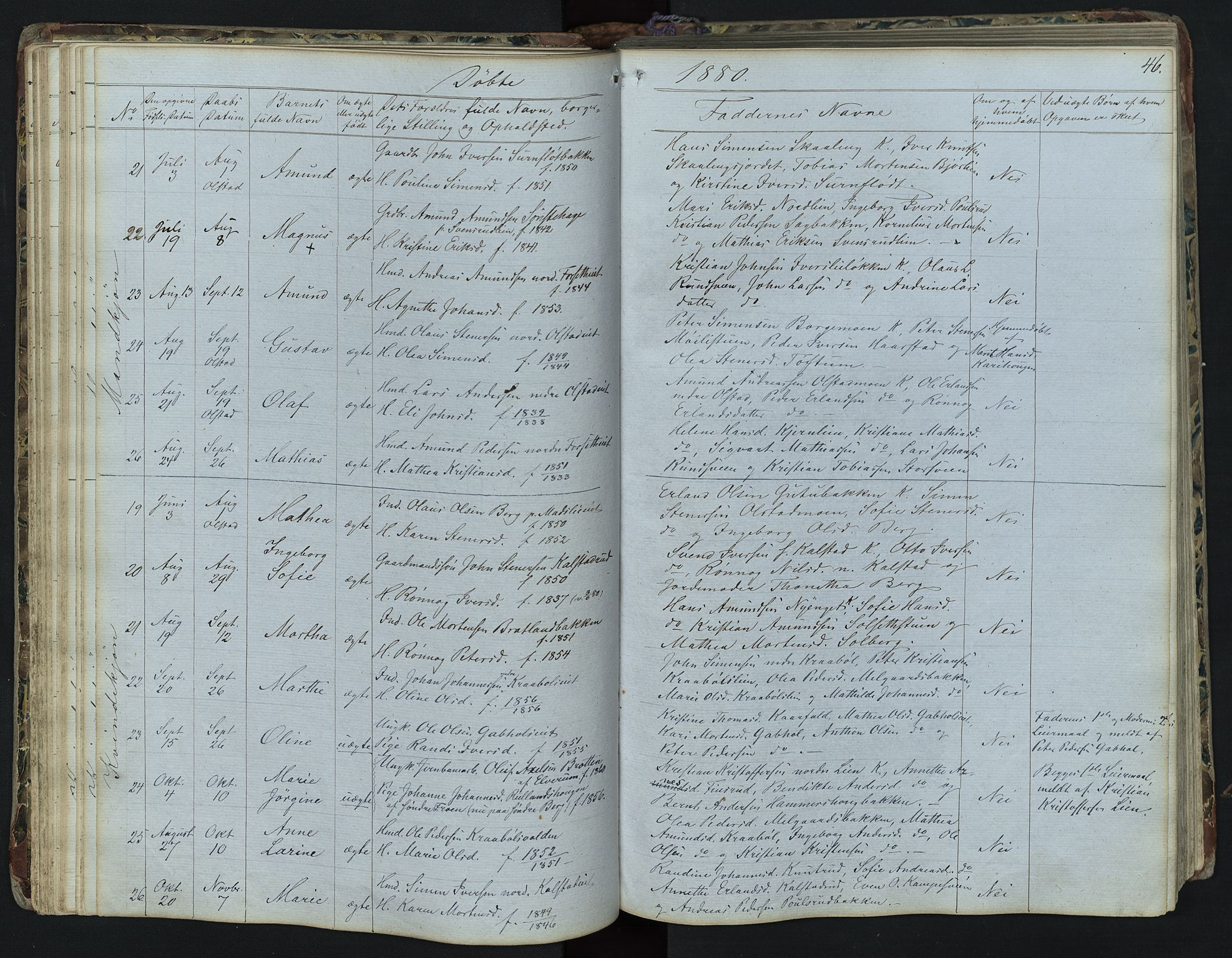 SAH, Vestre Gausdal prestekontor, Klokkerbok nr. 1, 1867-1895, s. 46