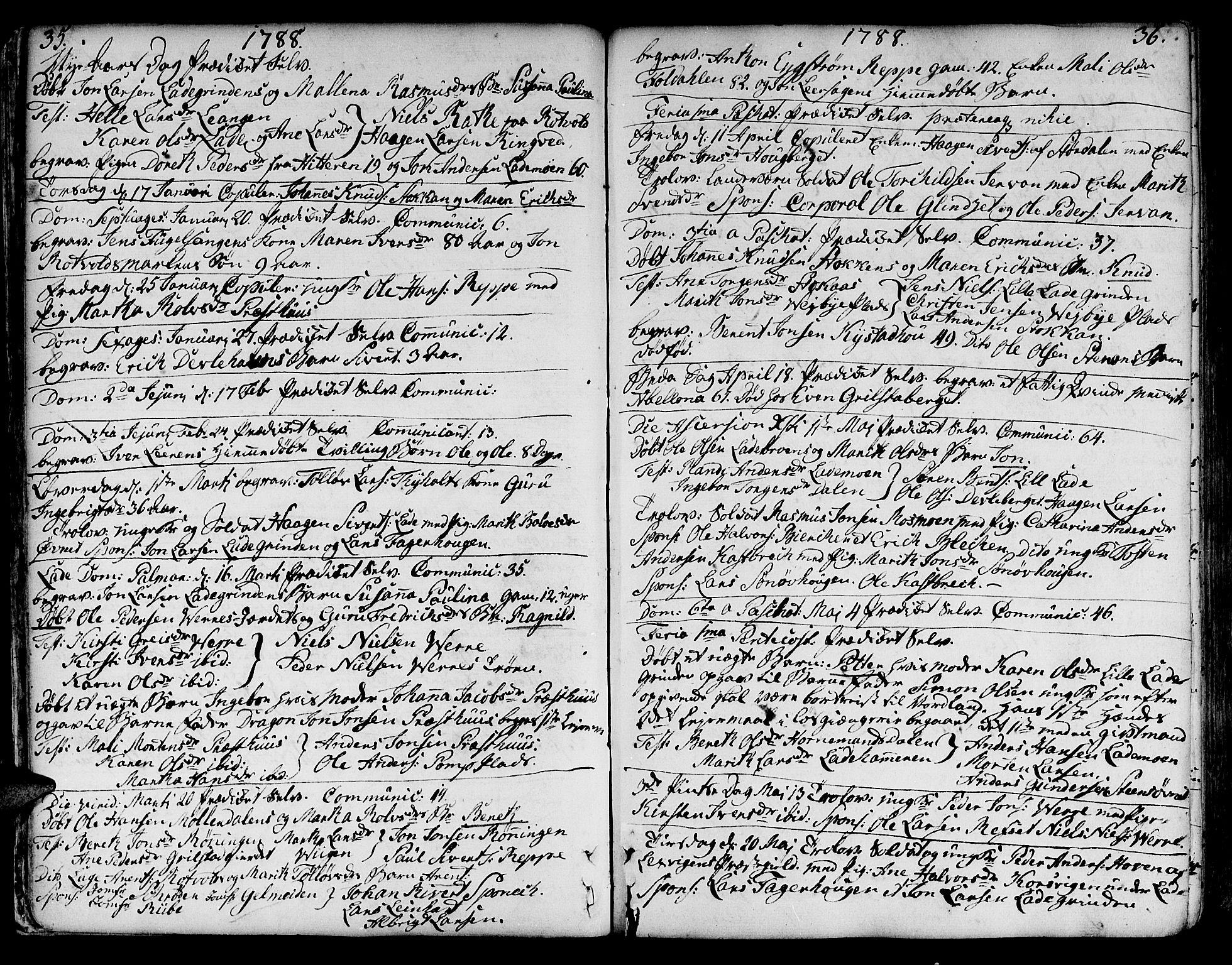 SAT, Ministerialprotokoller, klokkerbøker og fødselsregistre - Sør-Trøndelag, 606/L0280: Ministerialbok nr. 606A02 /1, 1781-1817, s. 35-36