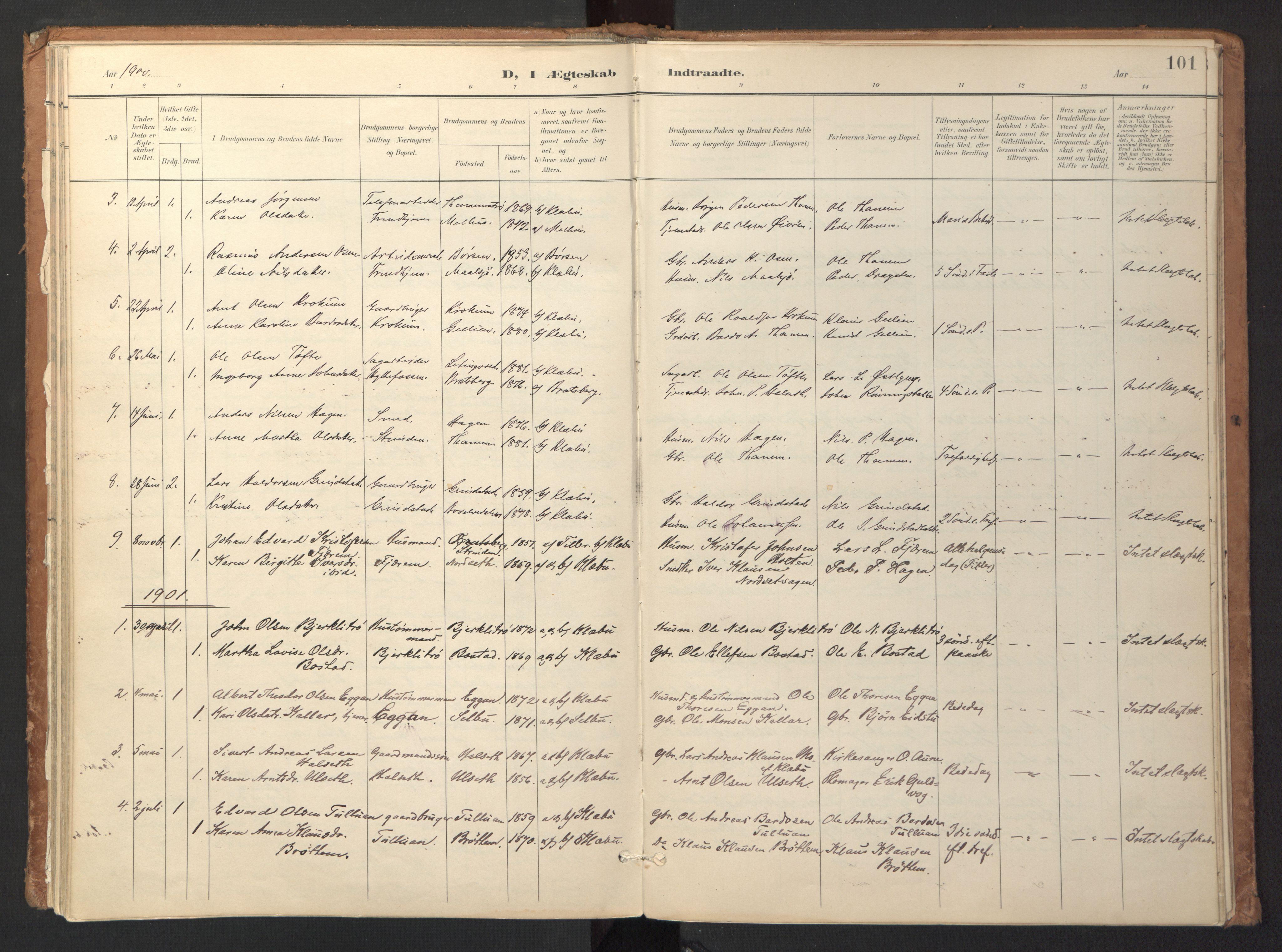 SAT, Ministerialprotokoller, klokkerbøker og fødselsregistre - Sør-Trøndelag, 618/L0448: Ministerialbok nr. 618A11, 1898-1916, s. 101
