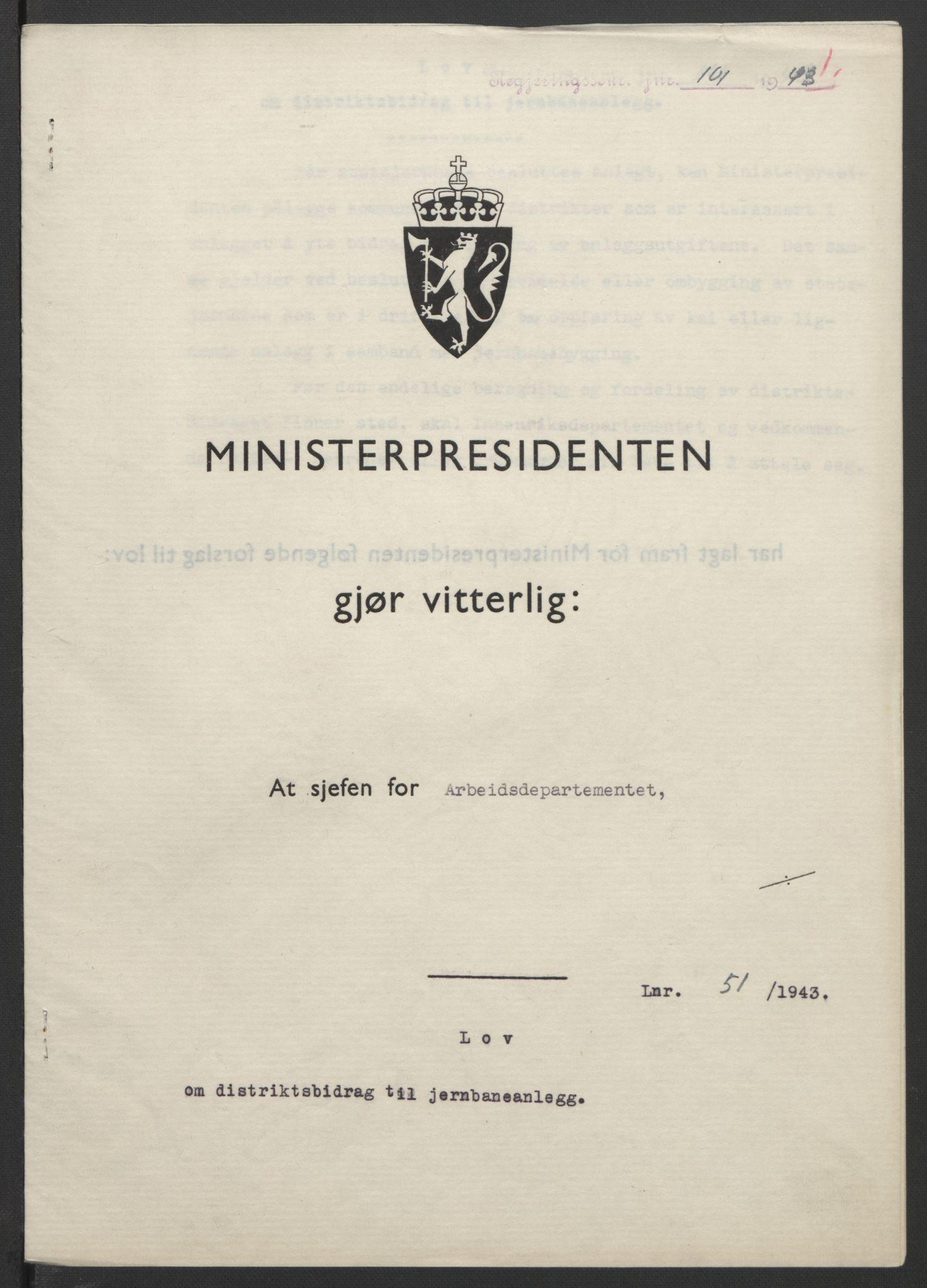 RA, NS-administrasjonen 1940-1945 (Statsrådsekretariatet, de kommisariske statsråder mm), D/Db/L0099: Lover, 1943, s. 223