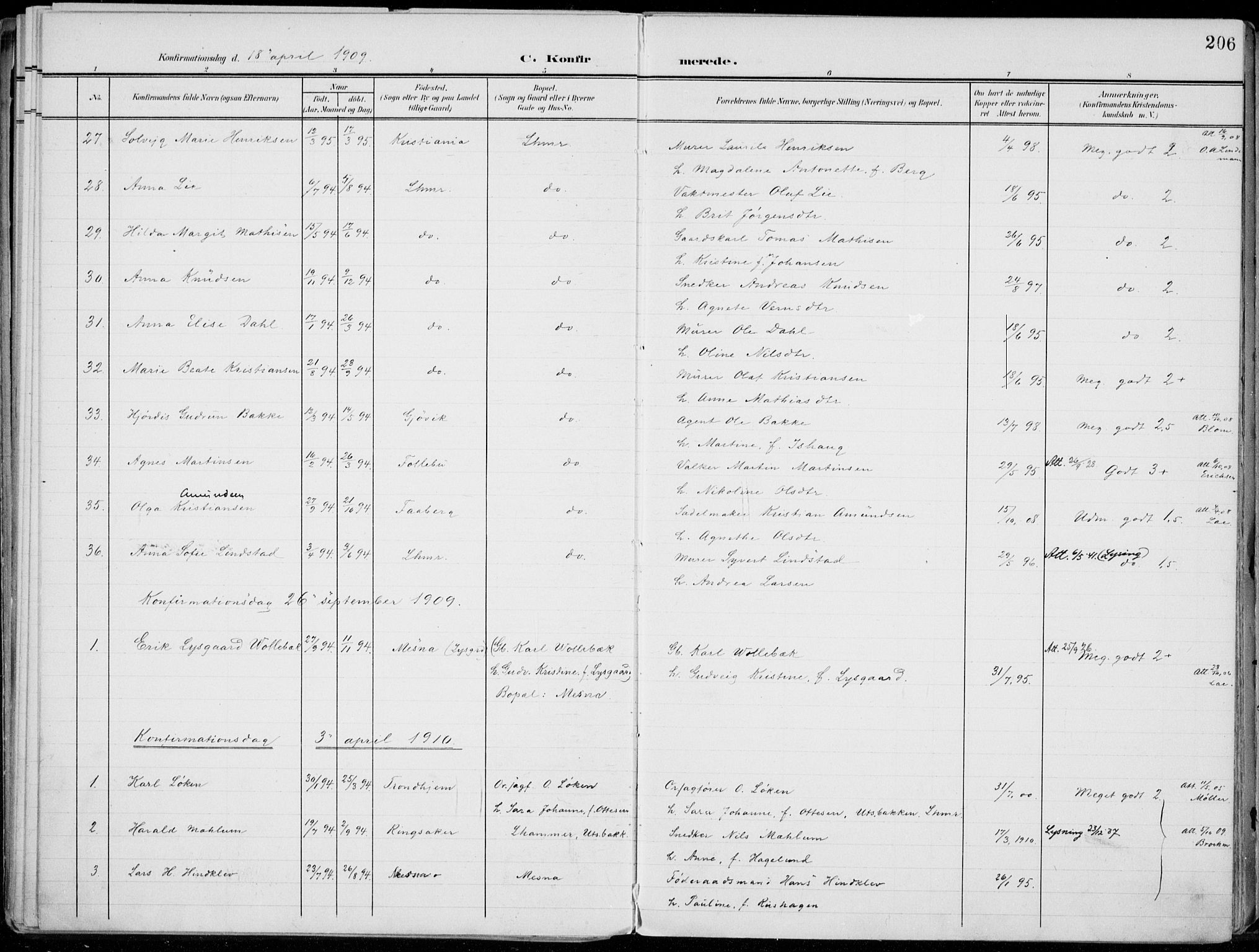 SAH, Lillehammer prestekontor, Ministerialbok nr. 1, 1901-1916, s. 206