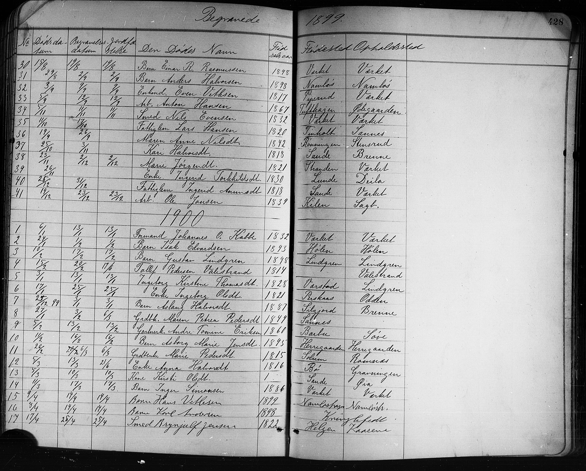 SAKO, Holla kirkebøker, G/Ga/L0005: Klokkerbok nr. I 5, 1891-1917, s. 428