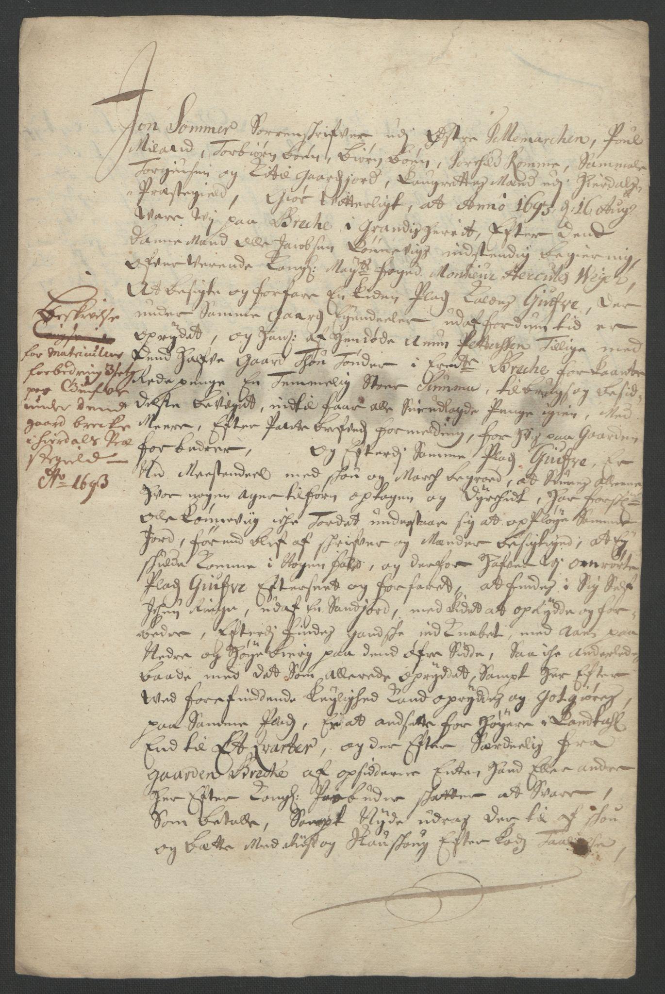 RA, Rentekammeret inntil 1814, Reviderte regnskaper, Fogderegnskap, R35/L2091: Fogderegnskap Øvre og Nedre Telemark, 1690-1693, s. 271
