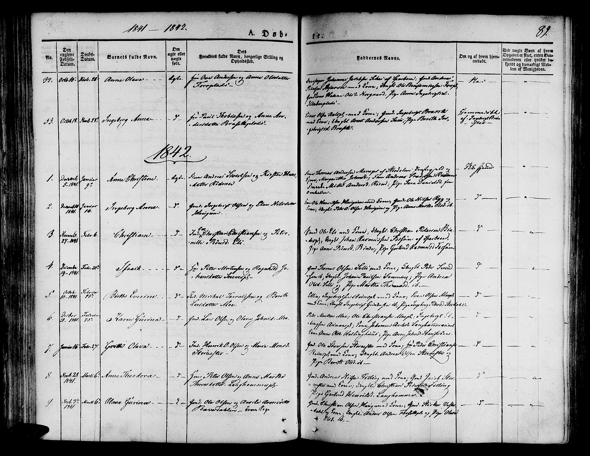 SAT, Ministerialprotokoller, klokkerbøker og fødselsregistre - Nord-Trøndelag, 746/L0445: Ministerialbok nr. 746A04, 1826-1846, s. 89