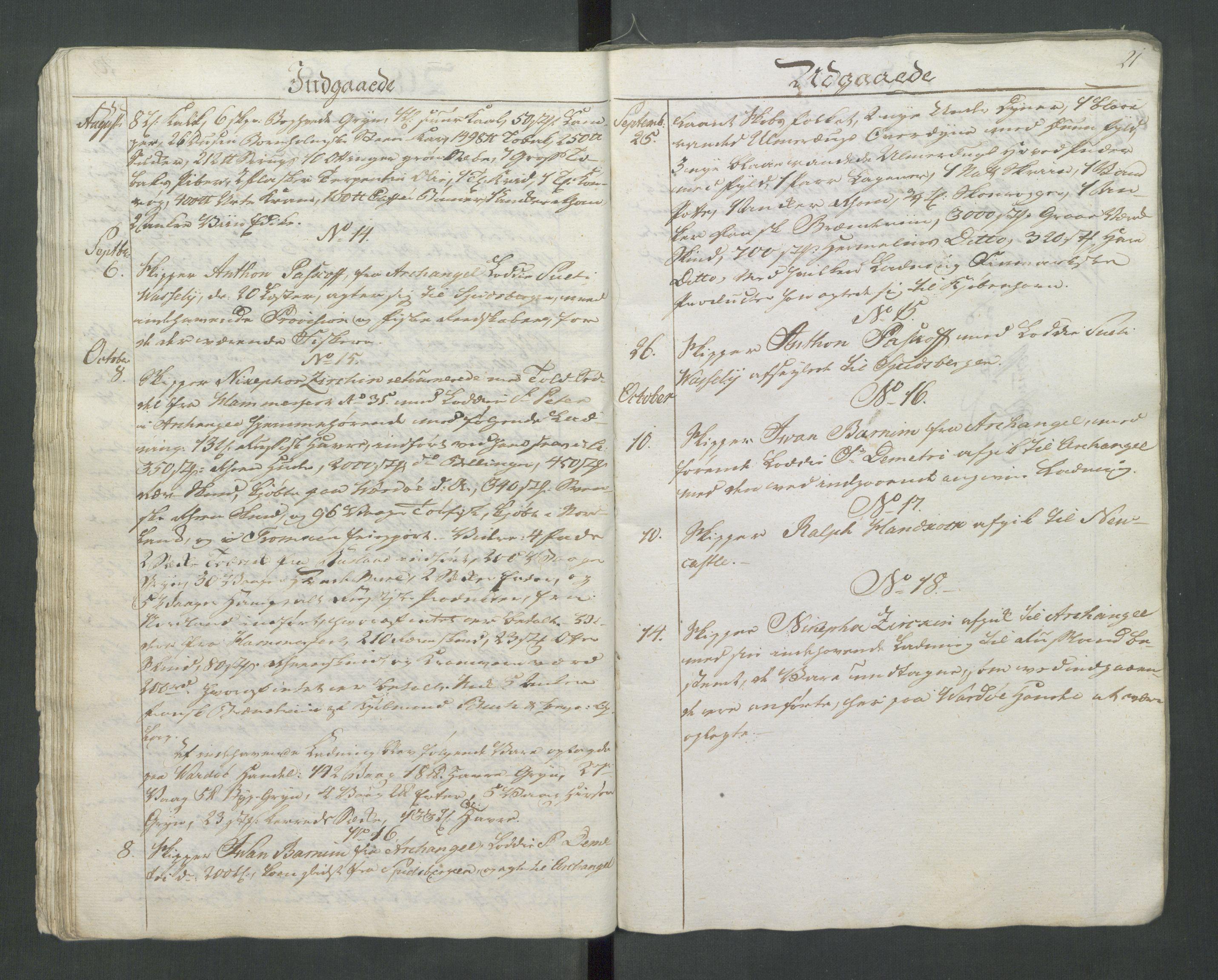 RA, Generaltollkammeret, tollregnskaper, R37/L0001: Tollregnskaper Vardø, 1789-1794, s. 20b-21a