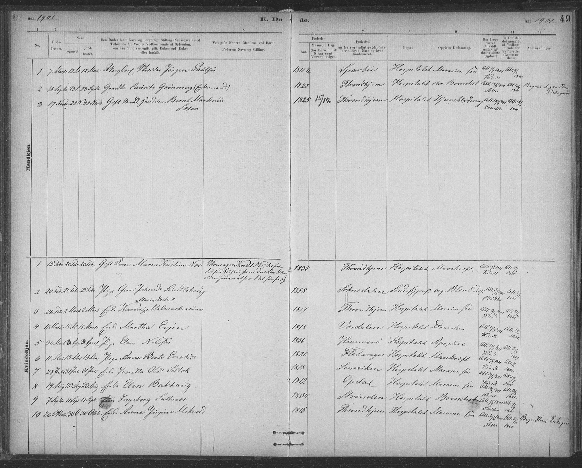 SAT, Ministerialprotokoller, klokkerbøker og fødselsregistre - Sør-Trøndelag, 623/L0470: Ministerialbok nr. 623A04, 1884-1938, s. 49