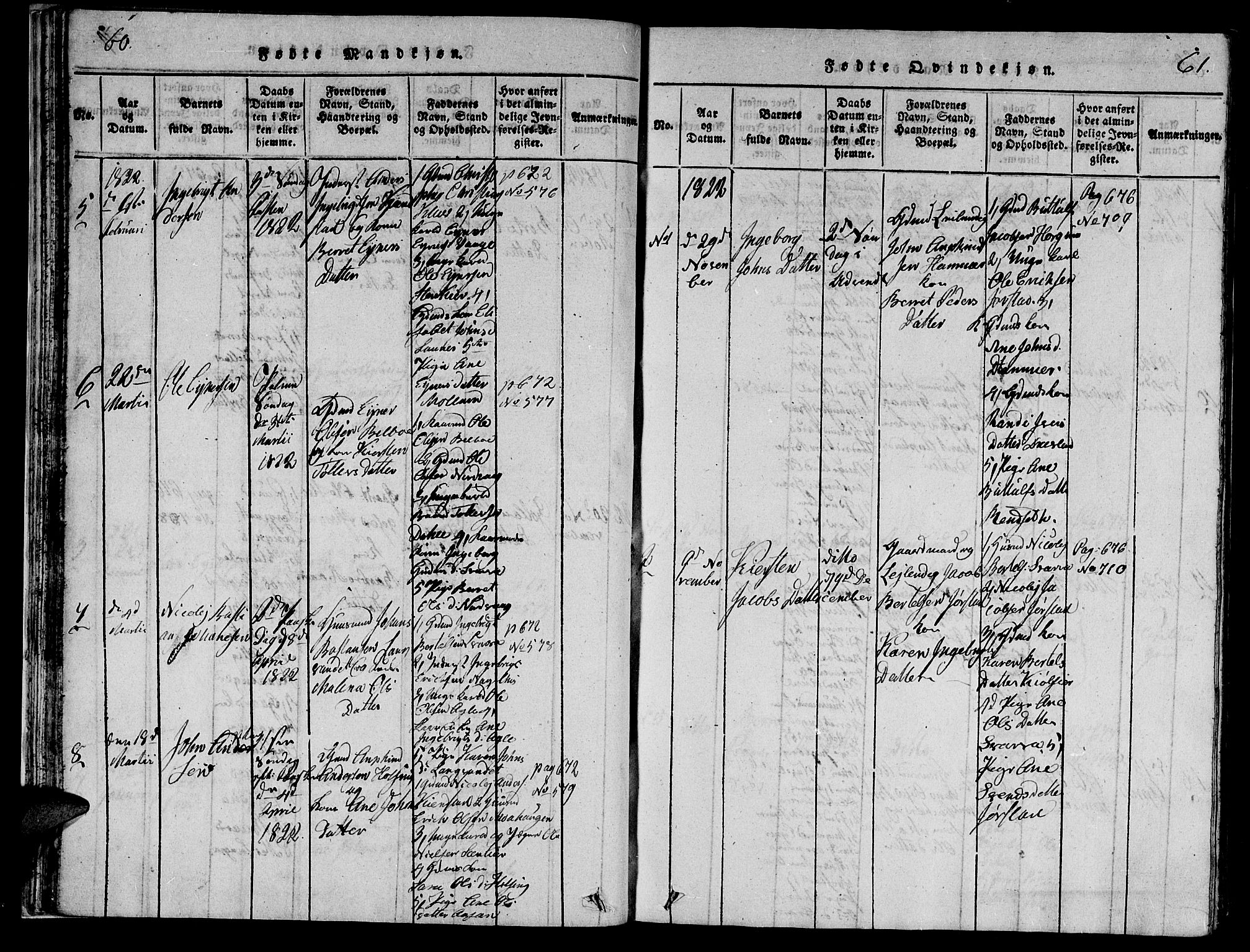 SAT, Ministerialprotokoller, klokkerbøker og fødselsregistre - Nord-Trøndelag, 749/L0479: Klokkerbok nr. 749C01, 1817-1829, s. 60-61