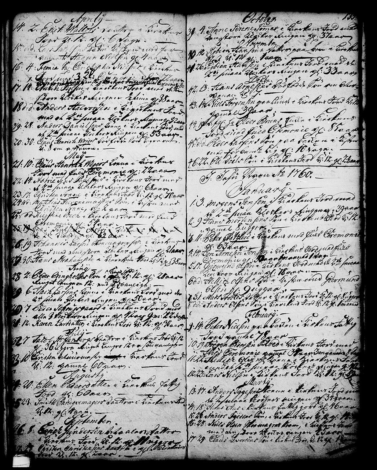 SAKO, Skien kirkebøker, G/Ga/L0001: Klokkerbok nr. 1, 1756-1791, s. 135