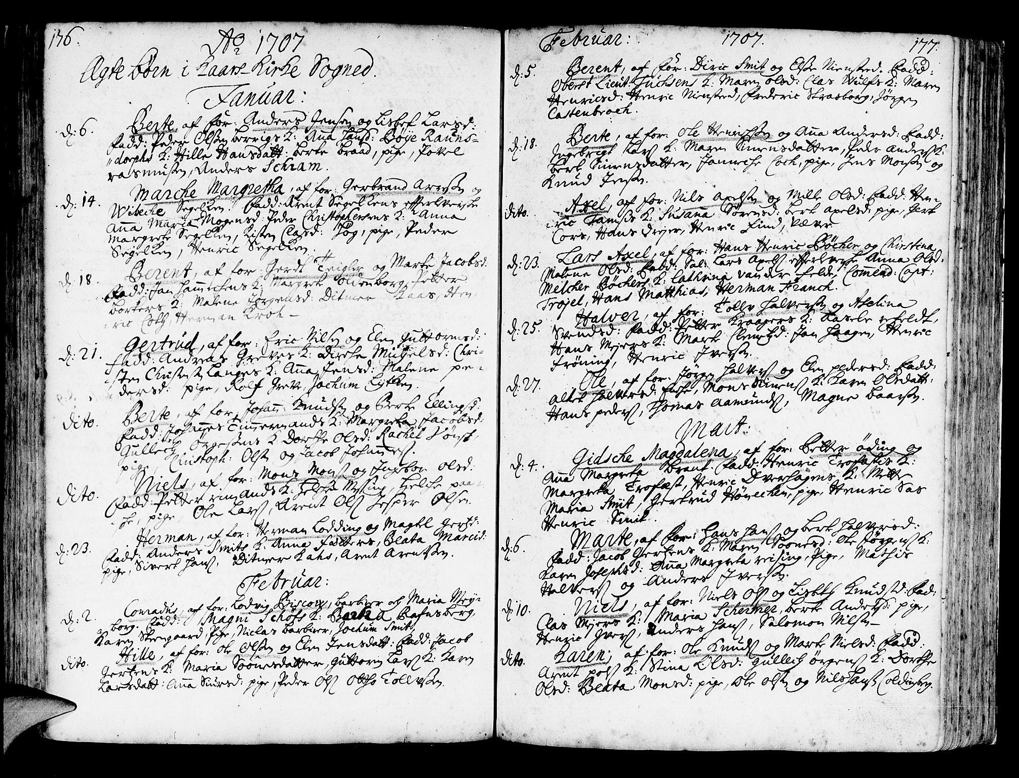 SAB, Korskirken Sokneprestembete, H/Haa/L0003: Ministerialbok nr. A 3, 1698-1719, s. 176-177