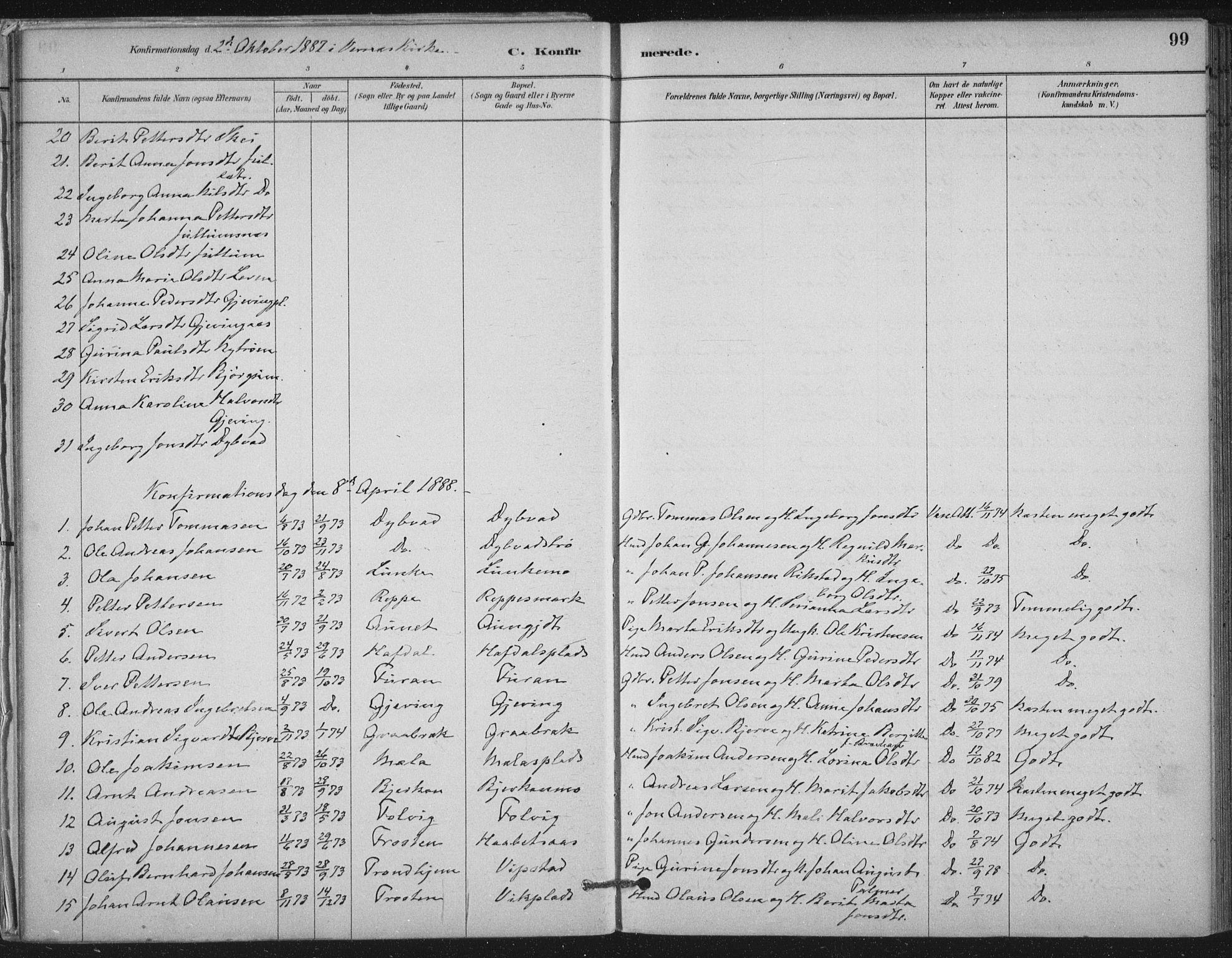 SAT, Ministerialprotokoller, klokkerbøker og fødselsregistre - Nord-Trøndelag, 710/L0095: Ministerialbok nr. 710A01, 1880-1914, s. 99