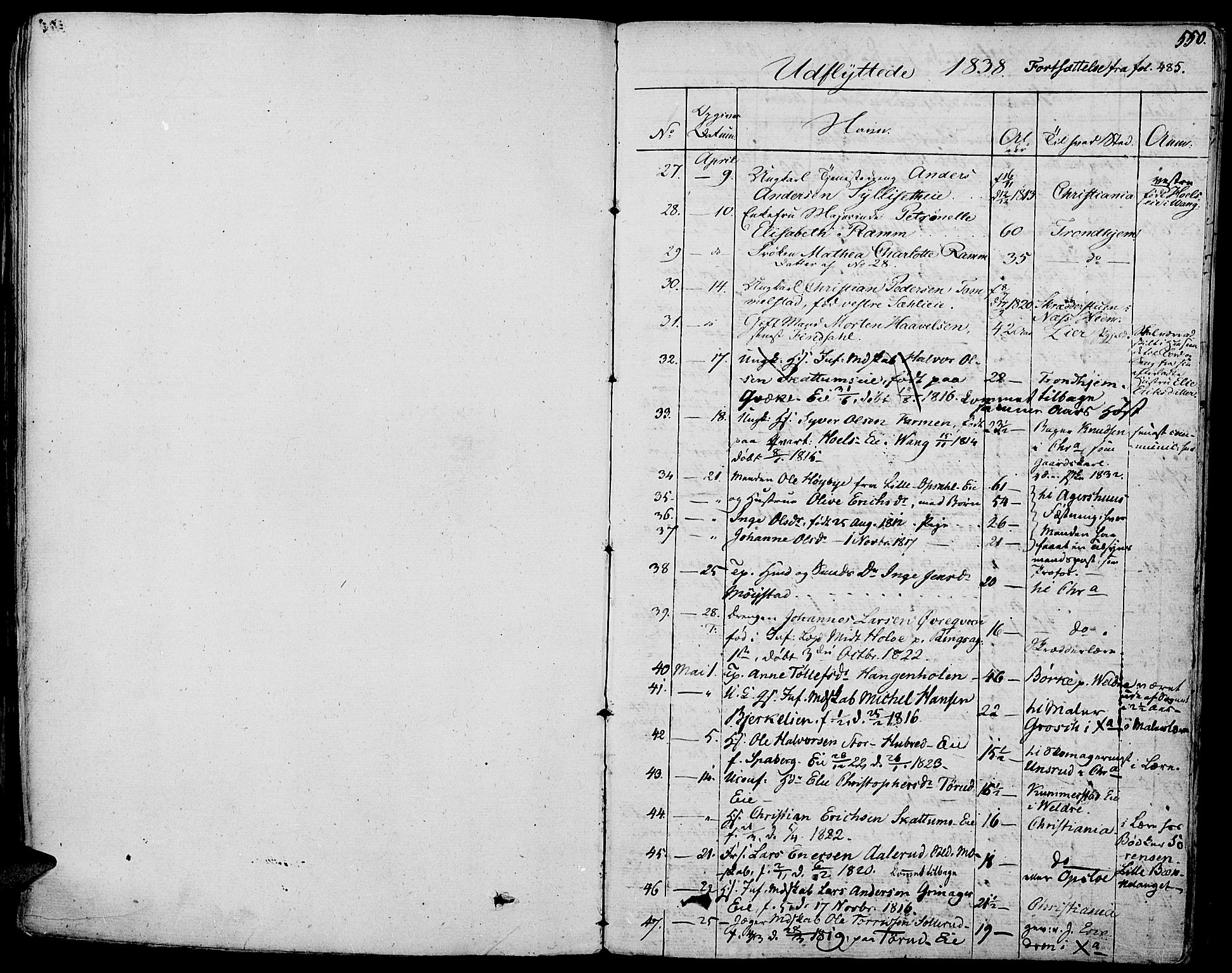 SAH, Vang prestekontor, Hedmark, H/Ha/Haa/L0009: Ministerialbok nr. 9, 1826-1841, s. 550