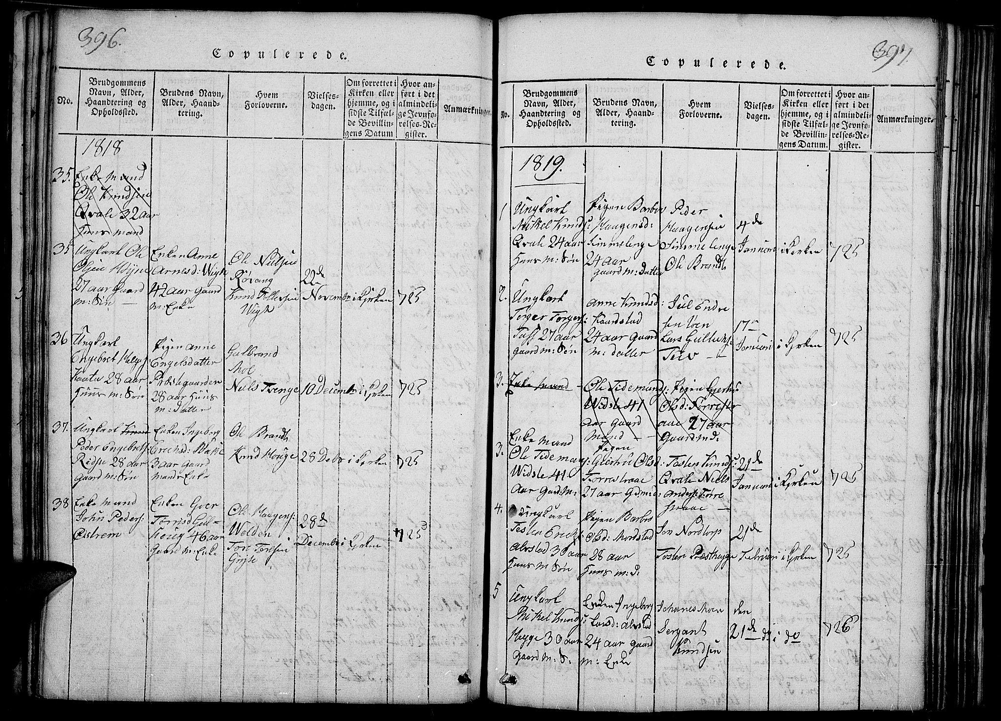 SAH, Slidre prestekontor, Ministerialbok nr. 2, 1814-1830, s. 396-397