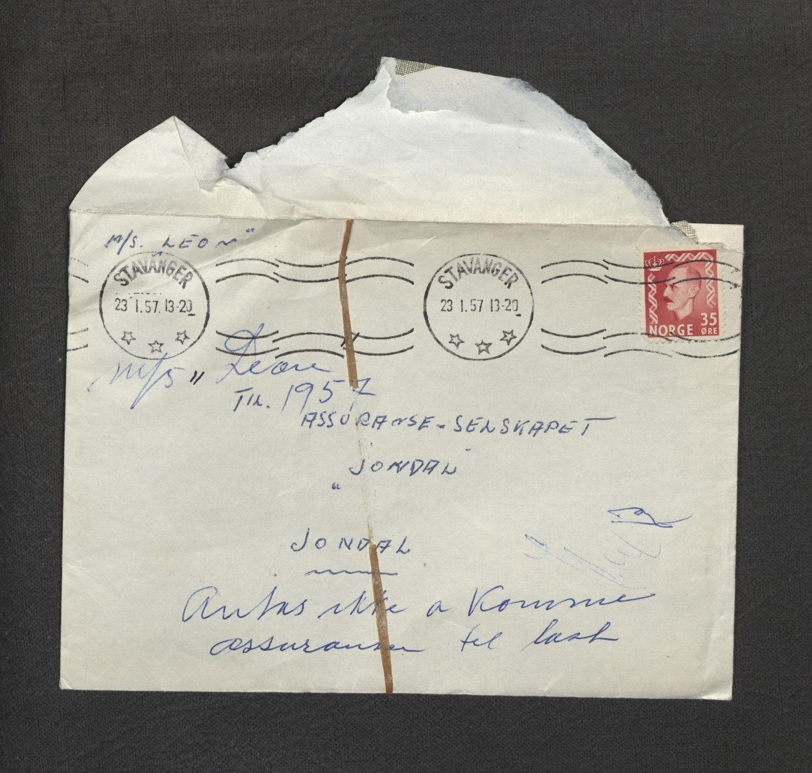 SAB, Jondal Skipsassuranseforening, E/L0015: Havari korrespondanse , 1957