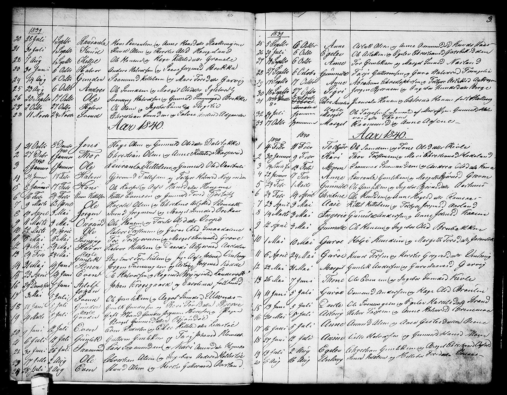SAKO, Seljord kirkebøker, G/Ga/L0002: Klokkerbok nr. I 2, 1838-1866, s. 3