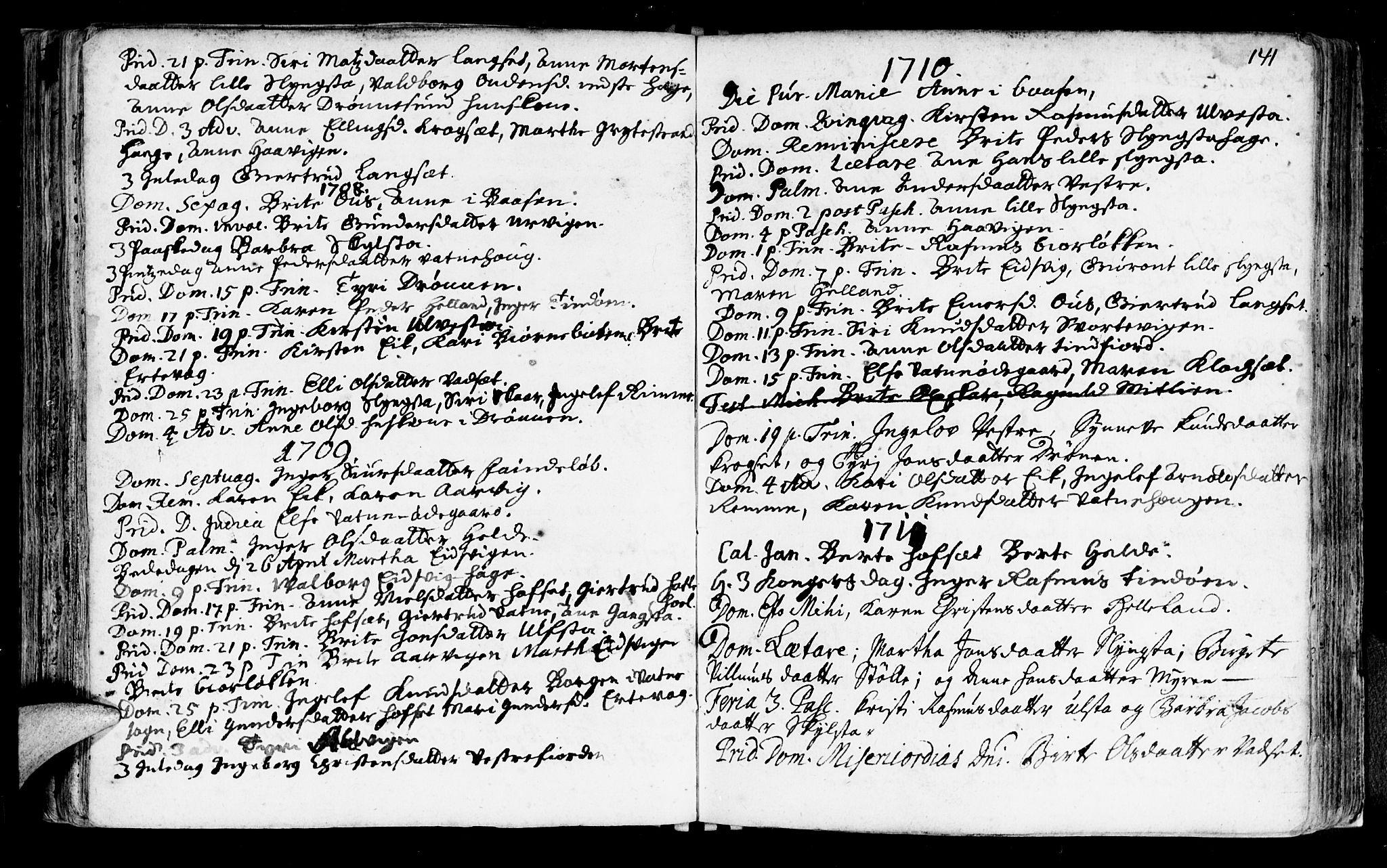 SAT, Ministerialprotokoller, klokkerbøker og fødselsregistre - Møre og Romsdal, 525/L0371: Ministerialbok nr. 525A01, 1699-1777, s. 141