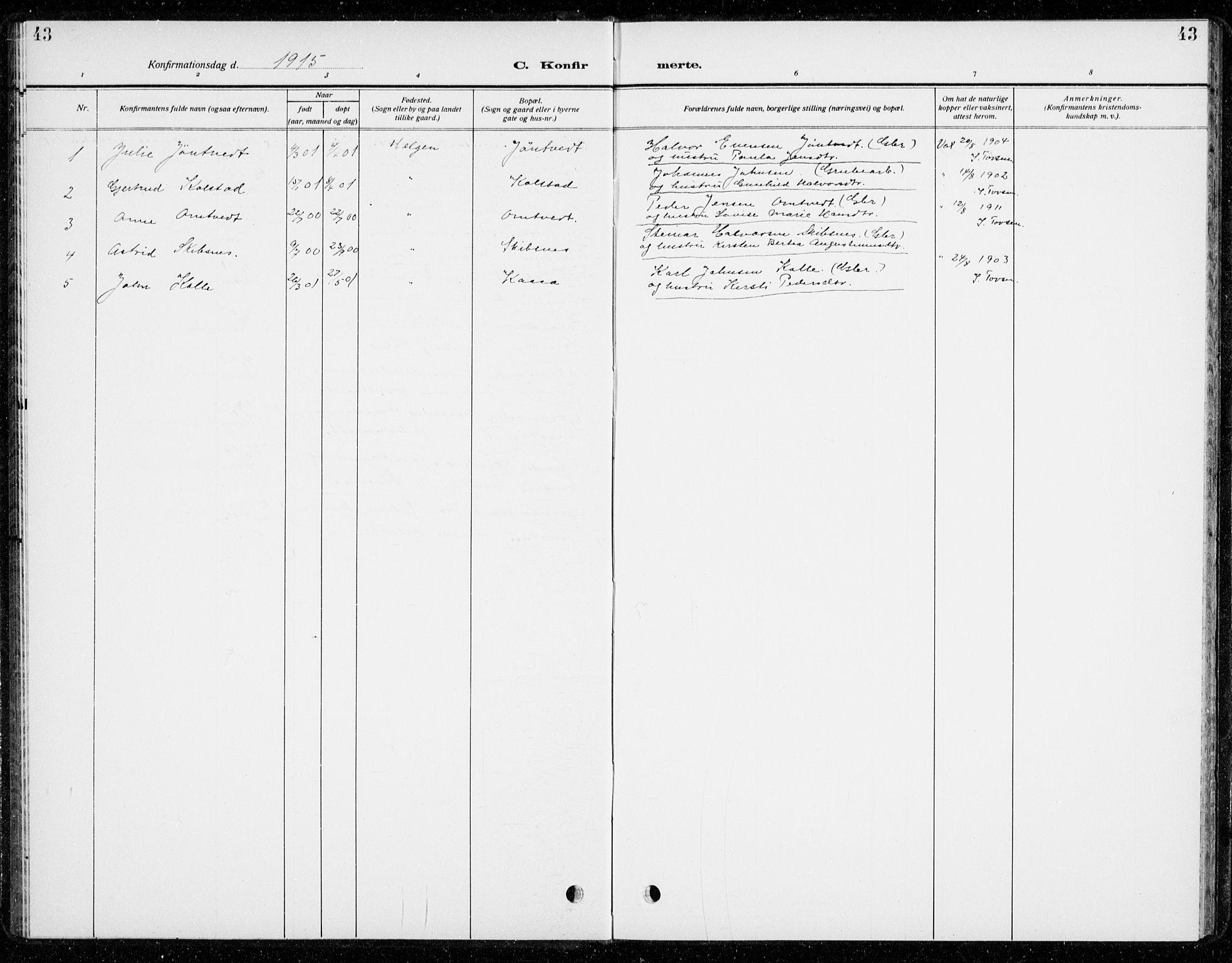 SAKO, Holla kirkebøker, G/Gb/L0003: Klokkerbok nr. II 3, 1914-1941, s. 43