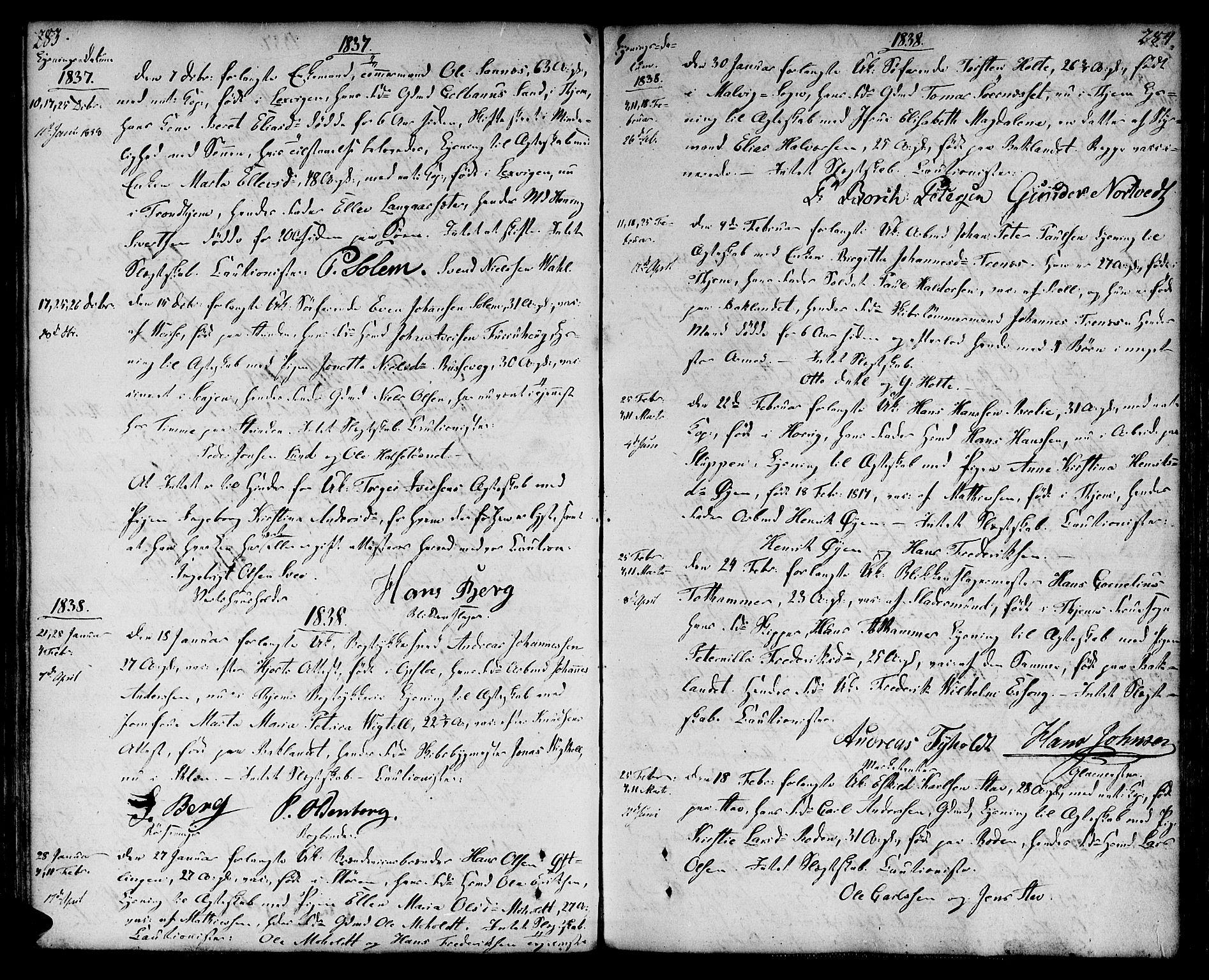 SAT, Ministerialprotokoller, klokkerbøker og fødselsregistre - Sør-Trøndelag, 604/L0181: Ministerialbok nr. 604A02, 1798-1817, s. 283-284