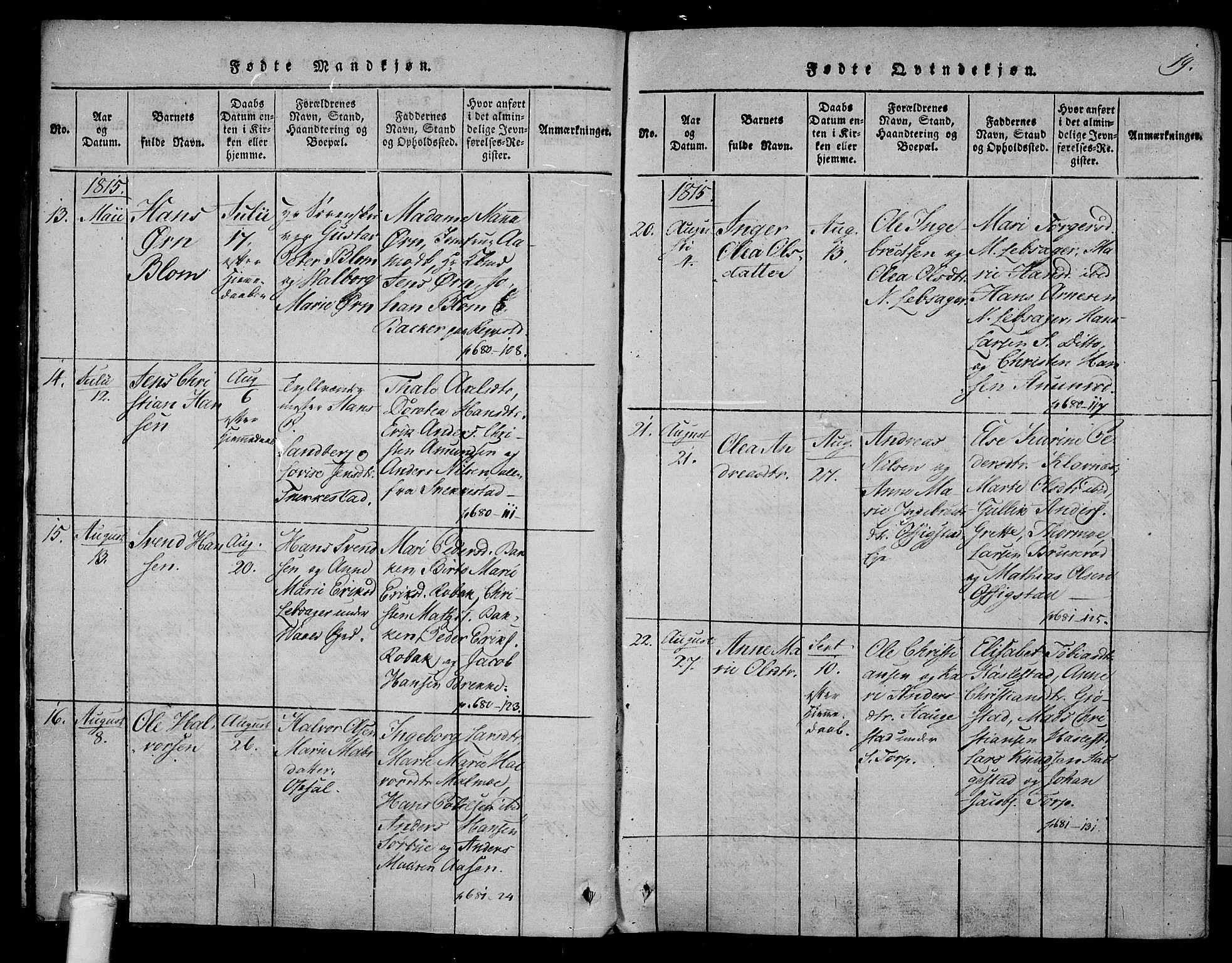 SAKO, Våle kirkebøker, F/Fa/L0007: Ministerialbok nr. I 7, 1814-1824, s. 18-19