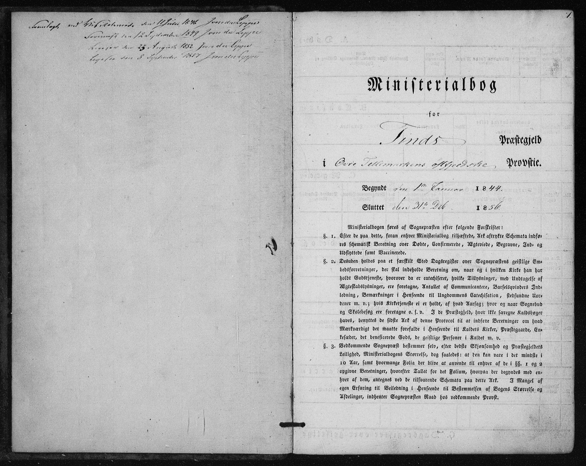 SAKO, Tinn kirkebøker, F/Fa/L0005: Ministerialbok nr. I 5, 1844-1856, s. 1