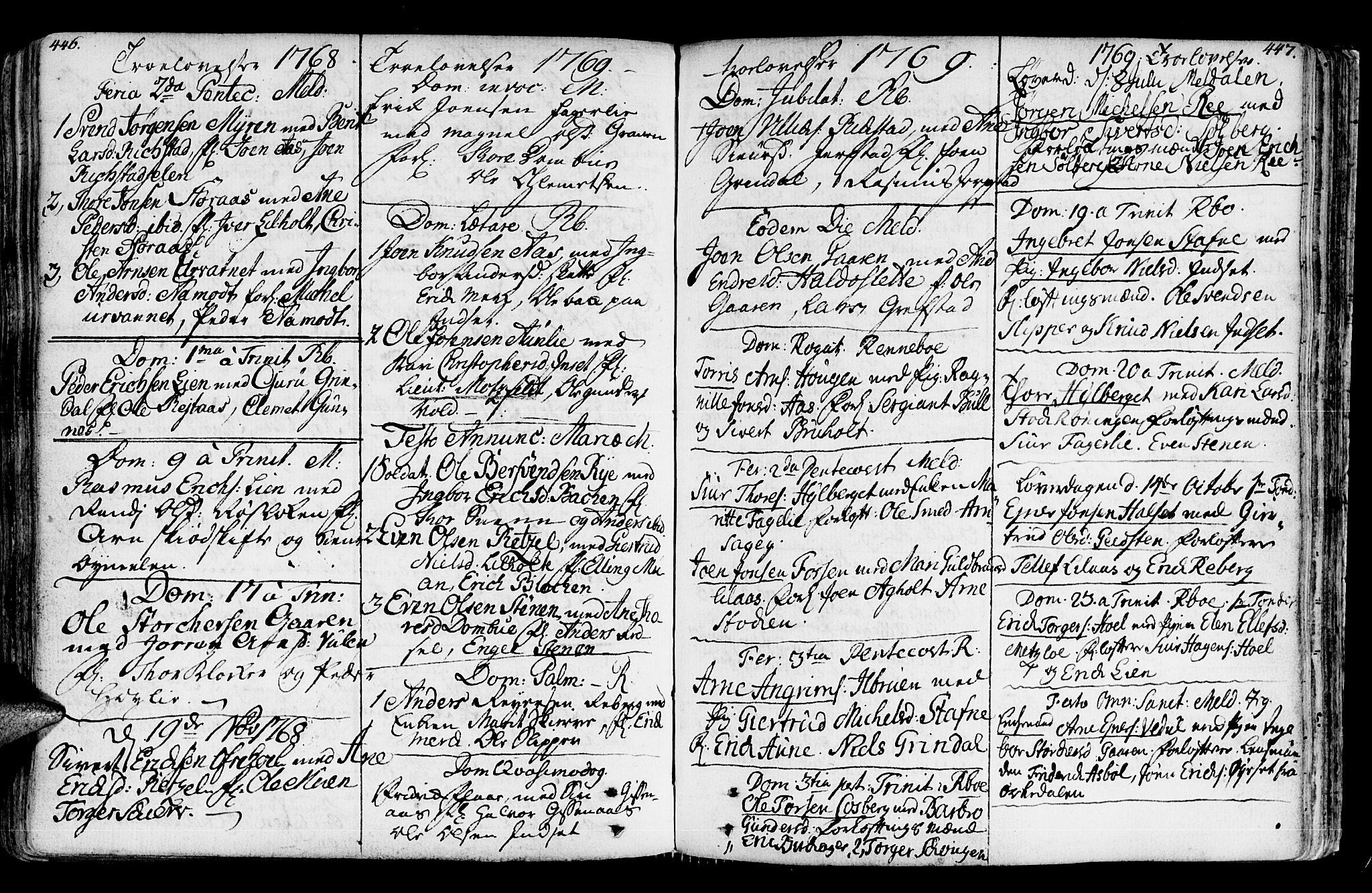 SAT, Ministerialprotokoller, klokkerbøker og fødselsregistre - Sør-Trøndelag, 672/L0851: Ministerialbok nr. 672A04, 1751-1775, s. 446-447