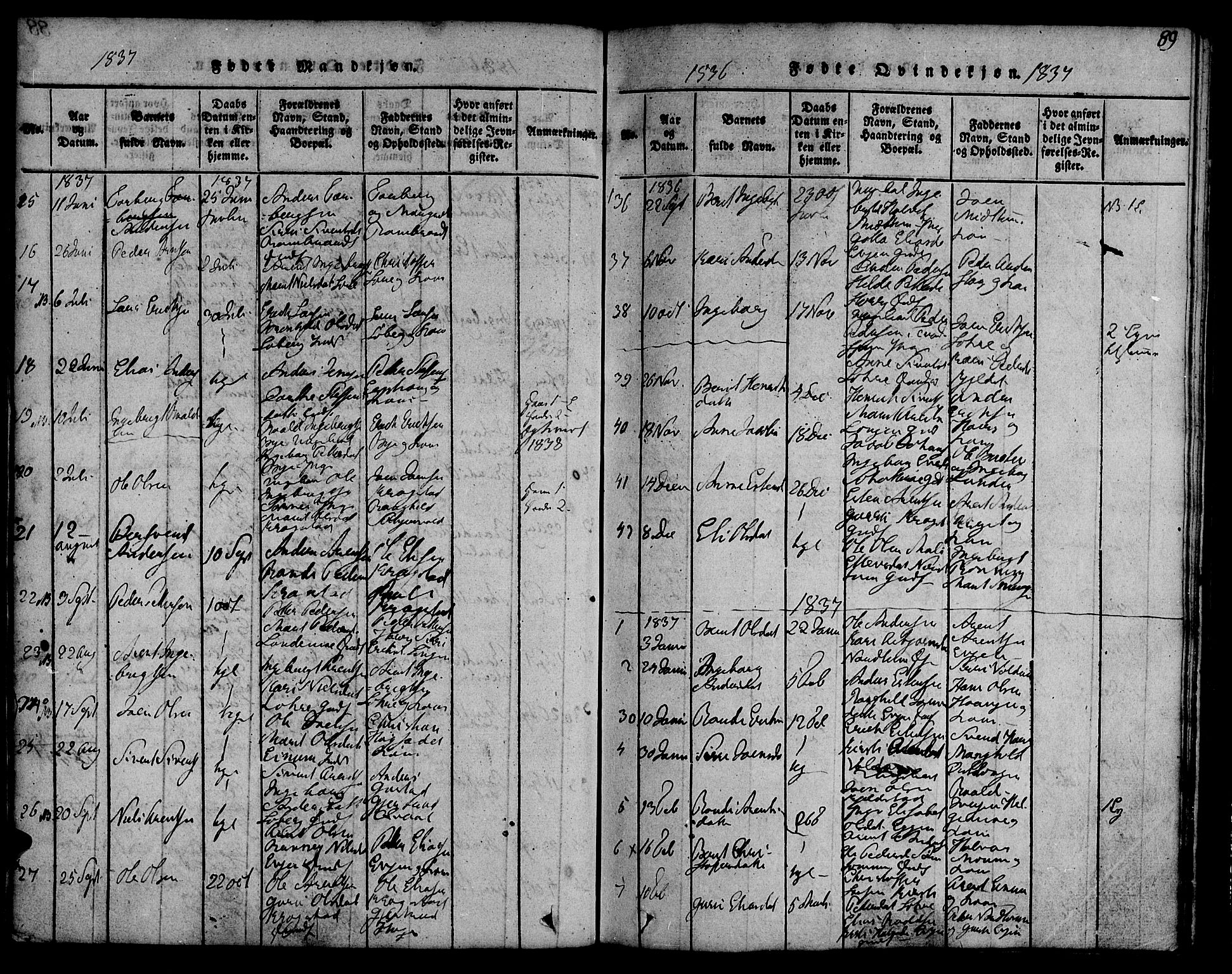 SAT, Ministerialprotokoller, klokkerbøker og fødselsregistre - Sør-Trøndelag, 692/L1102: Ministerialbok nr. 692A02, 1816-1842, s. 89