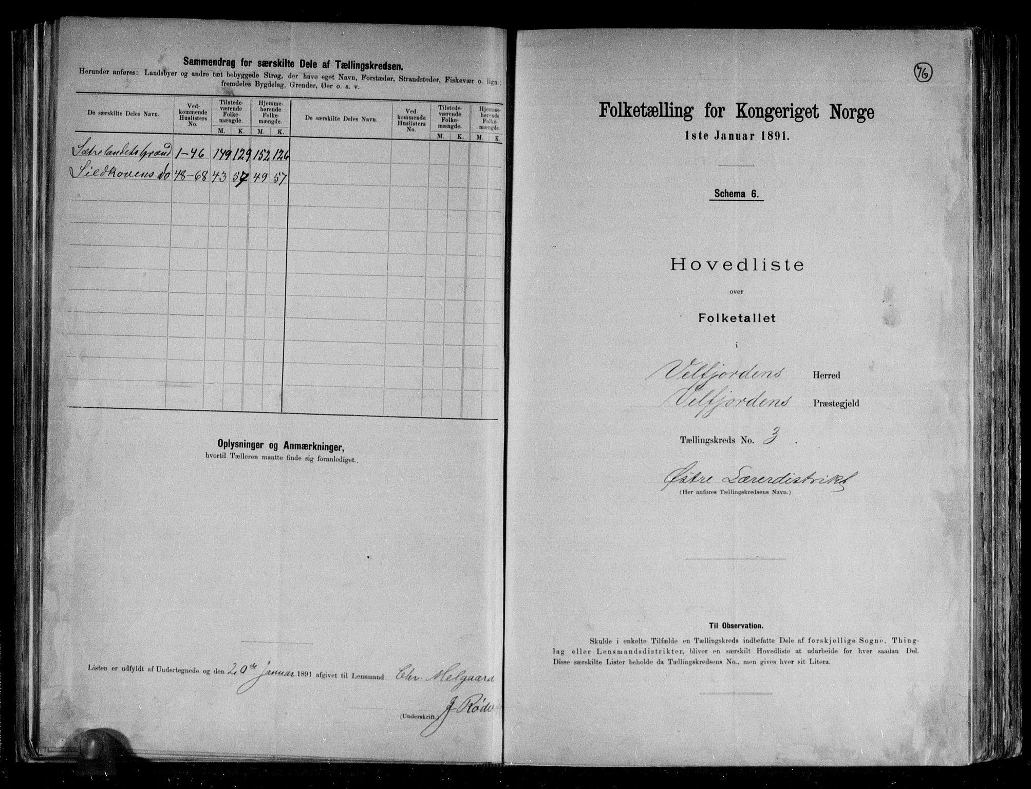RA, Folketelling 1891 for 1813 Velfjord herred, 1891, s. 10