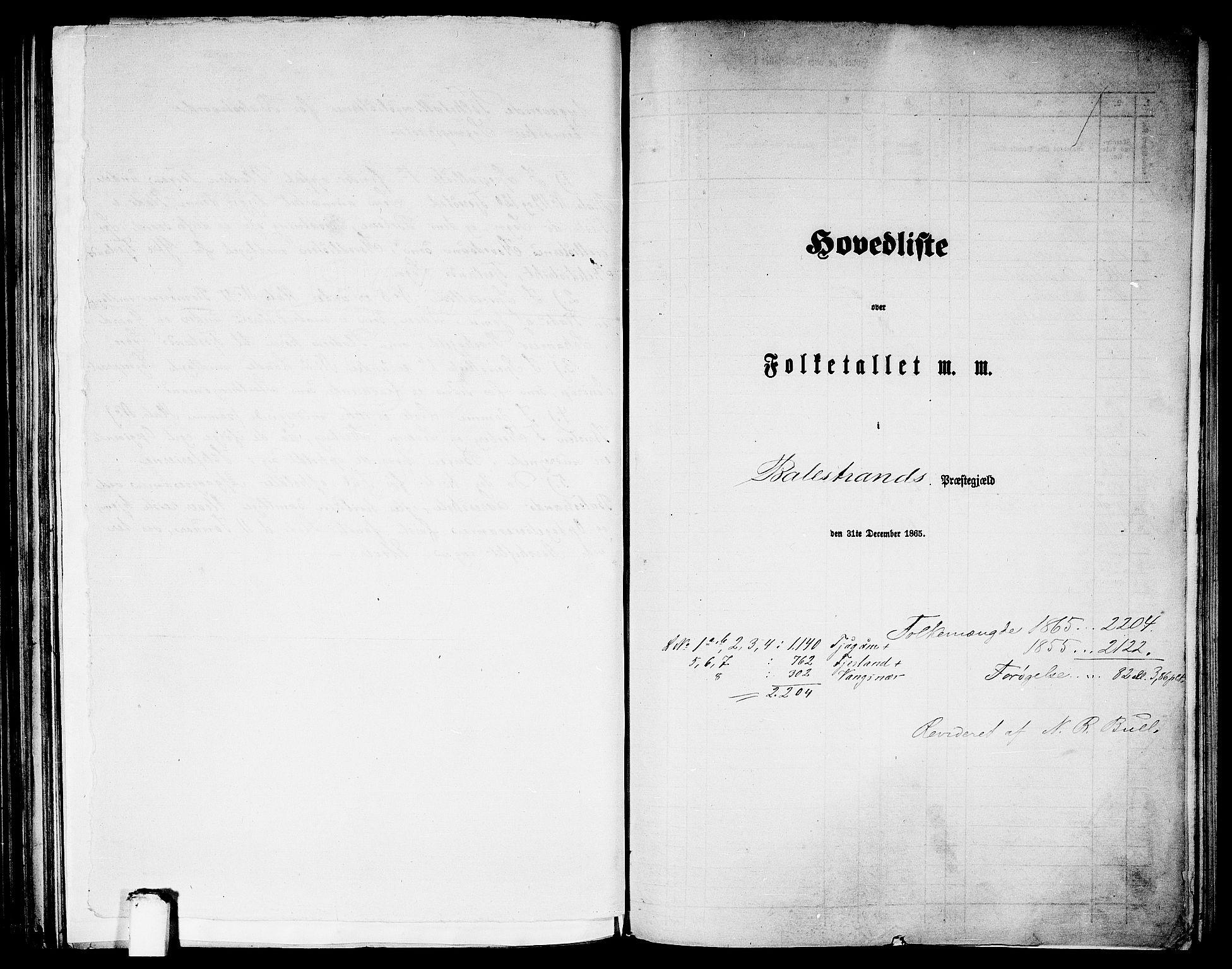 RA, Folketelling 1865 for 1418P Balestrand prestegjeld, 1865, s. 1