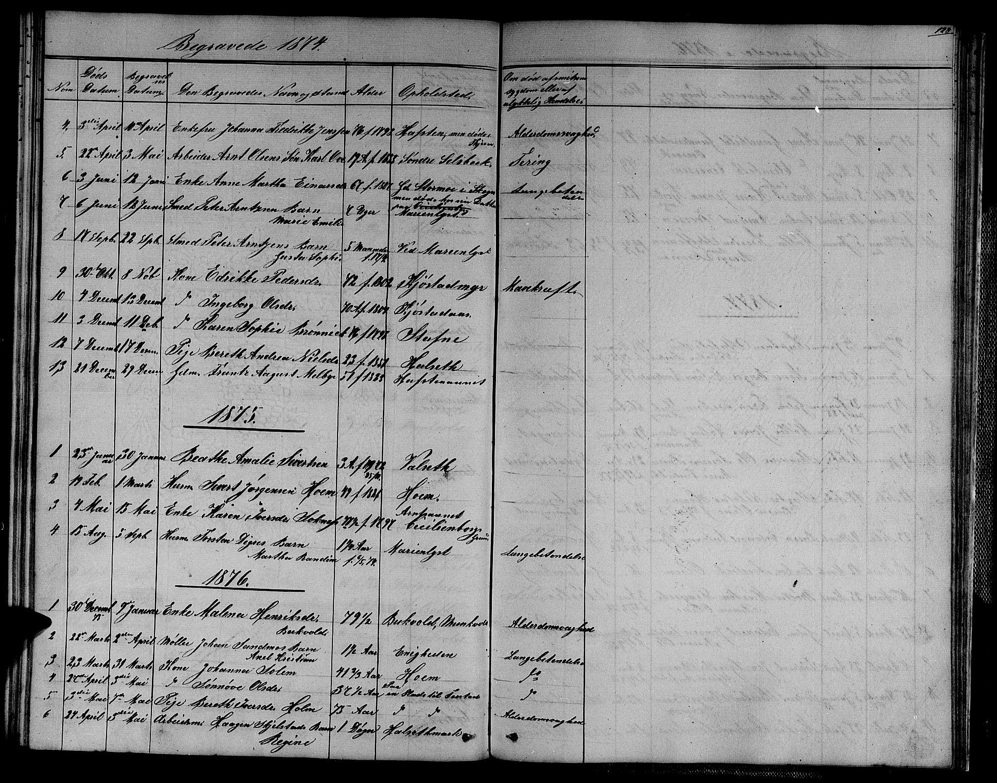 SAT, Ministerialprotokoller, klokkerbøker og fødselsregistre - Sør-Trøndelag, 611/L0353: Klokkerbok nr. 611C01, 1854-1881, s. 128