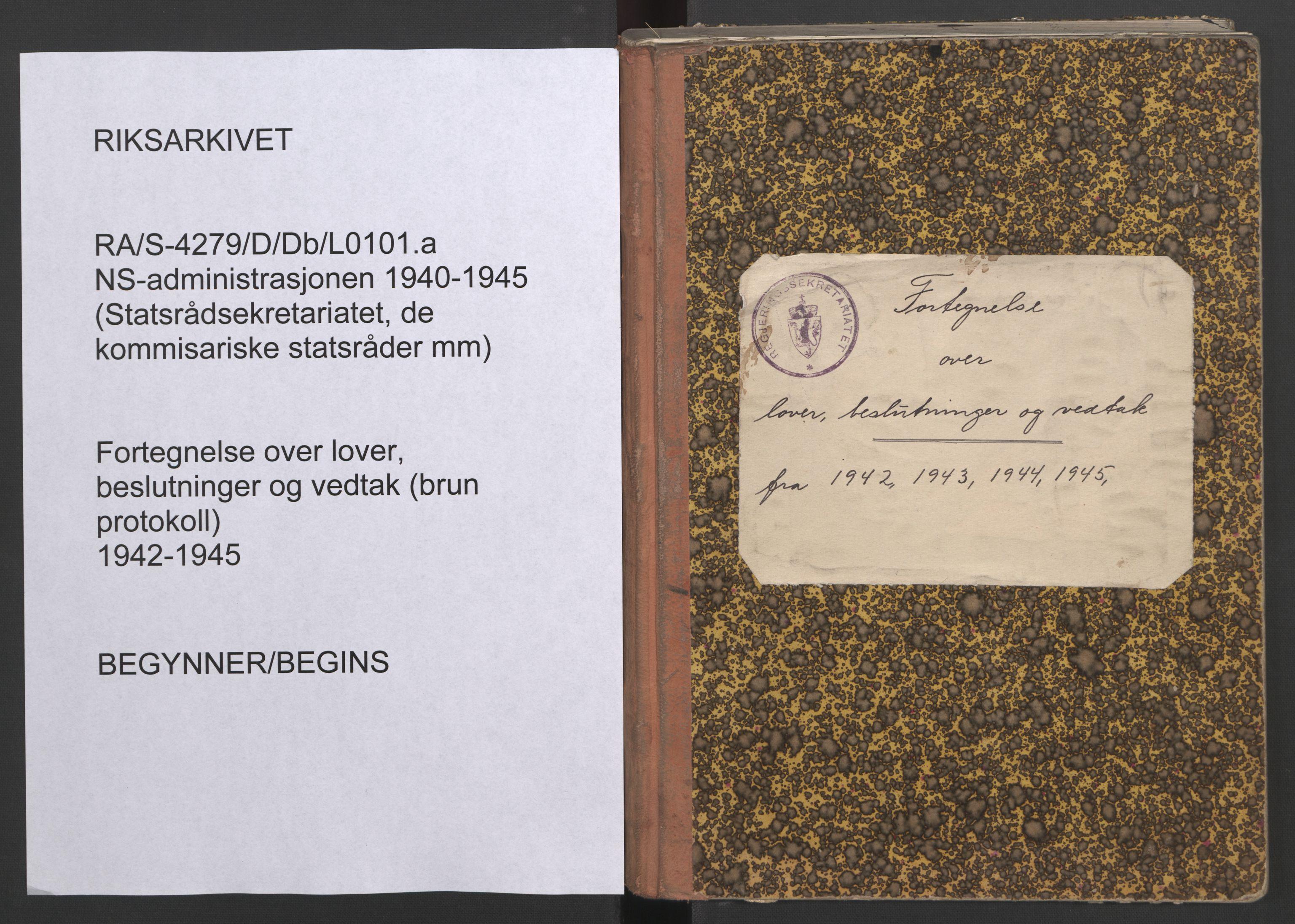 RA, NS-administrasjonen 1940-1945 (Statsrådsekretariatet, de kommisariske statsråder mm), D/Db/L0088: Foredrag (til vedtak i ministermøte) I, 1942-1945, s. upaginert