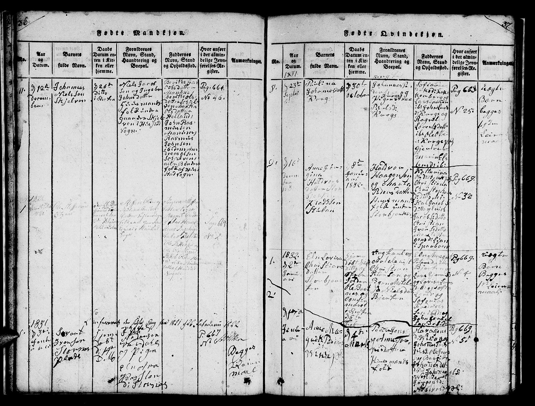 SAT, Ministerialprotokoller, klokkerbøker og fødselsregistre - Nord-Trøndelag, 732/L0317: Klokkerbok nr. 732C01, 1816-1881, s. 36-37