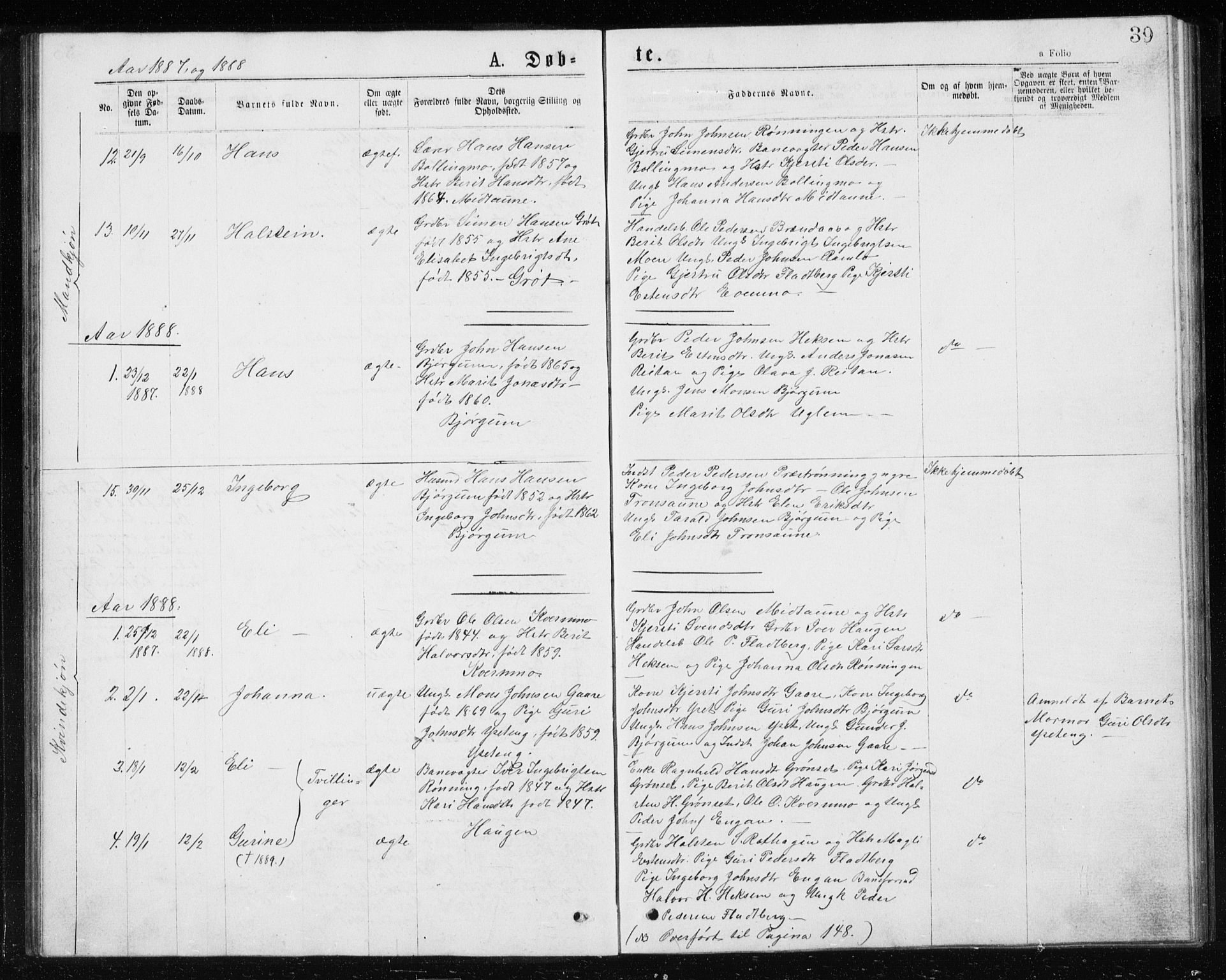 SAT, Ministerialprotokoller, klokkerbøker og fødselsregistre - Sør-Trøndelag, 685/L0977: Klokkerbok nr. 685C02, 1879-1890, s. 39