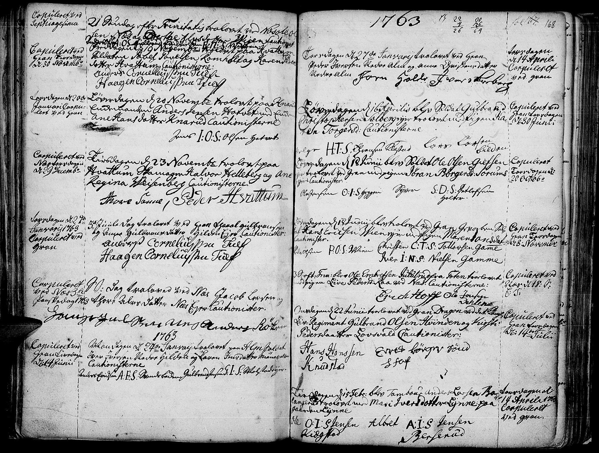 SAH, Gran prestekontor, Ministerialbok nr. 4, 1759-1775, s. 168
