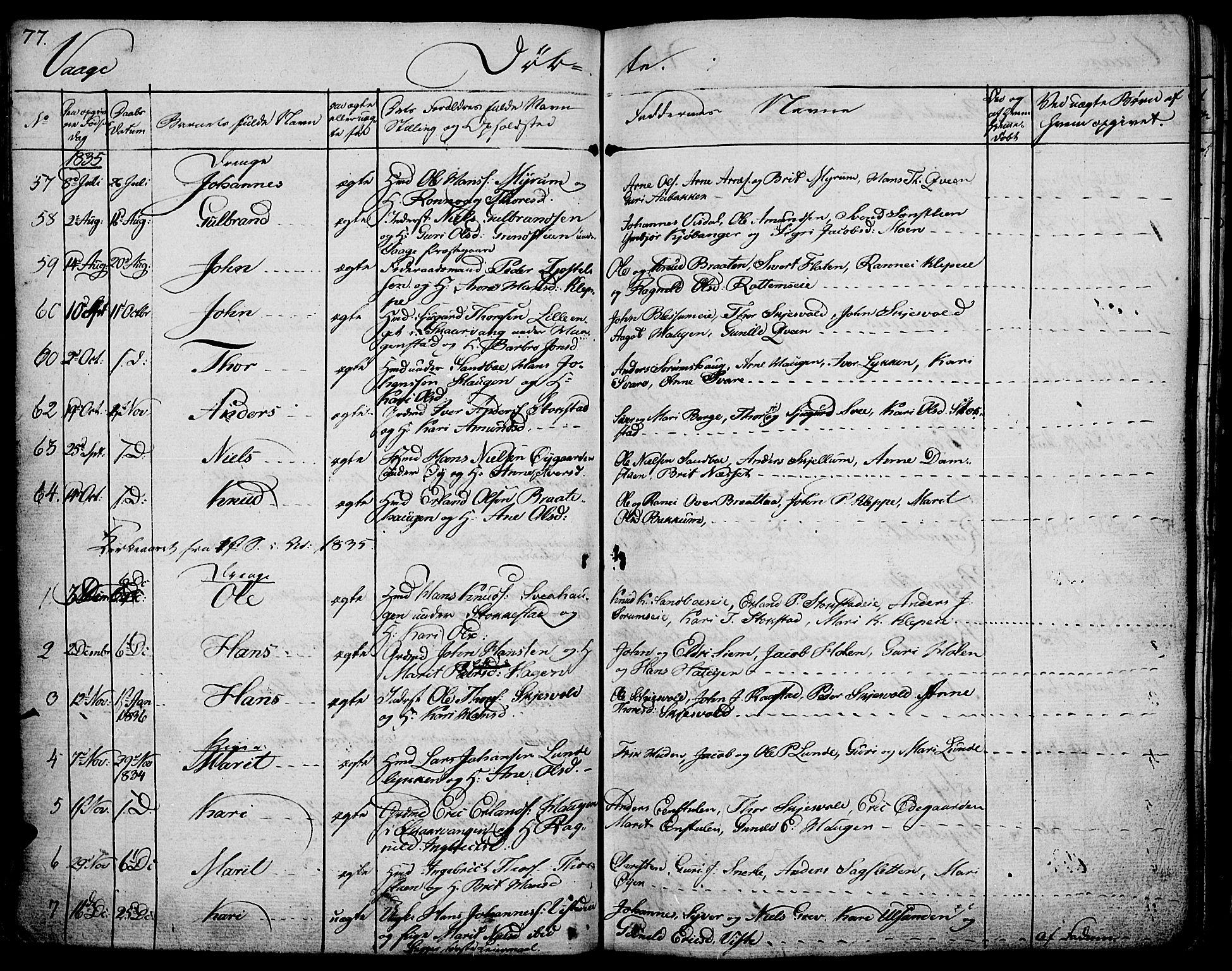 SAH, Vågå prestekontor, Ministerialbok nr. 4 /1, 1827-1842, s. 77