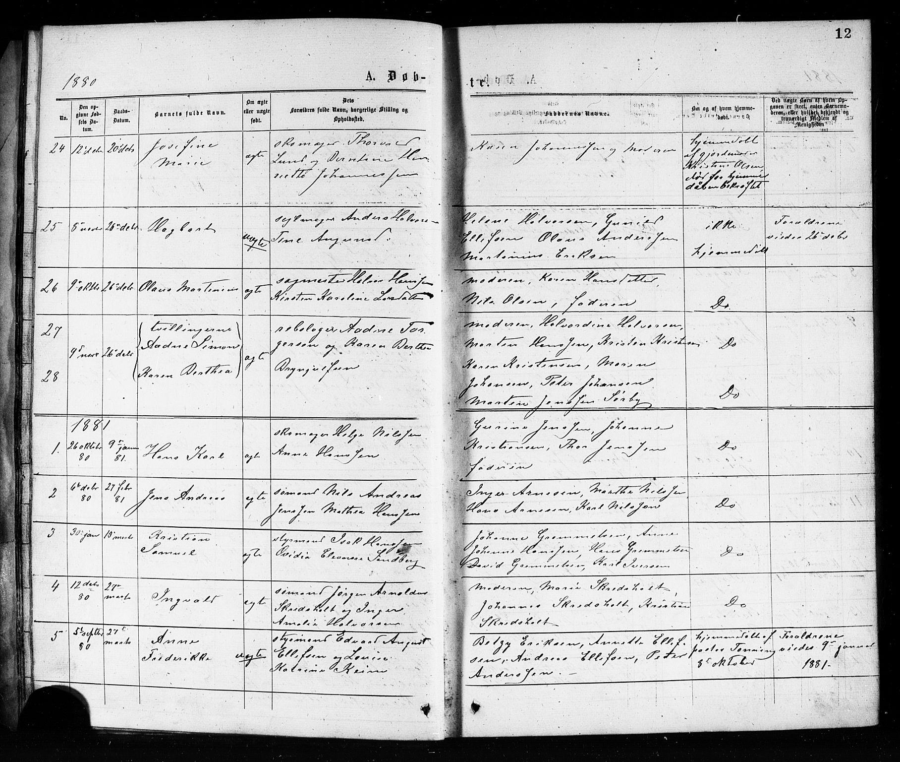 SAKO, Porsgrunn kirkebøker , G/Ga/L0003: Klokkerbok nr. I 3, 1877-1915, s. 12