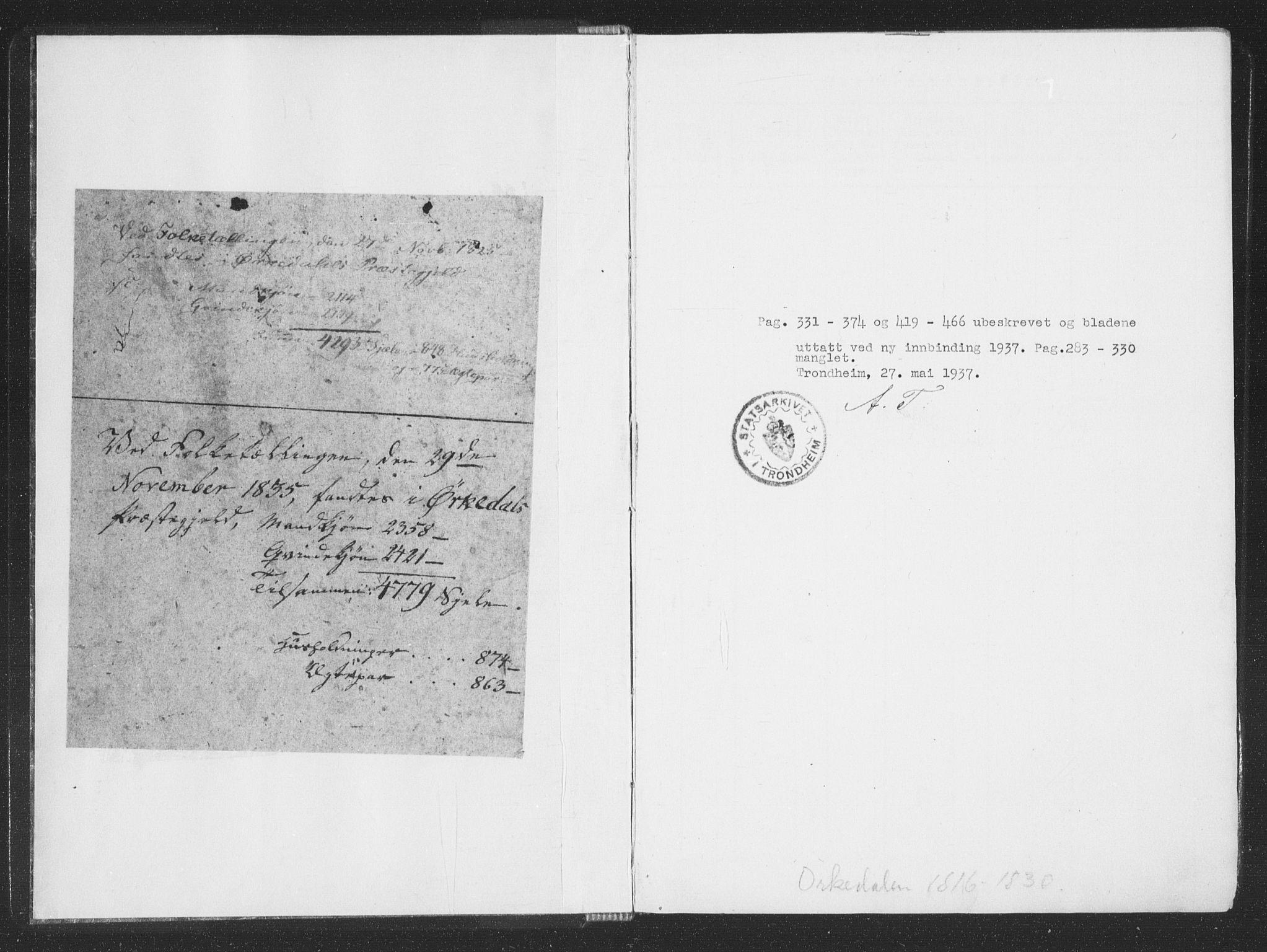 SAT, Ministerialprotokoller, klokkerbøker og fødselsregistre - Sør-Trøndelag, 668/L0816: Klokkerbok nr. 668C05, 1816-1893